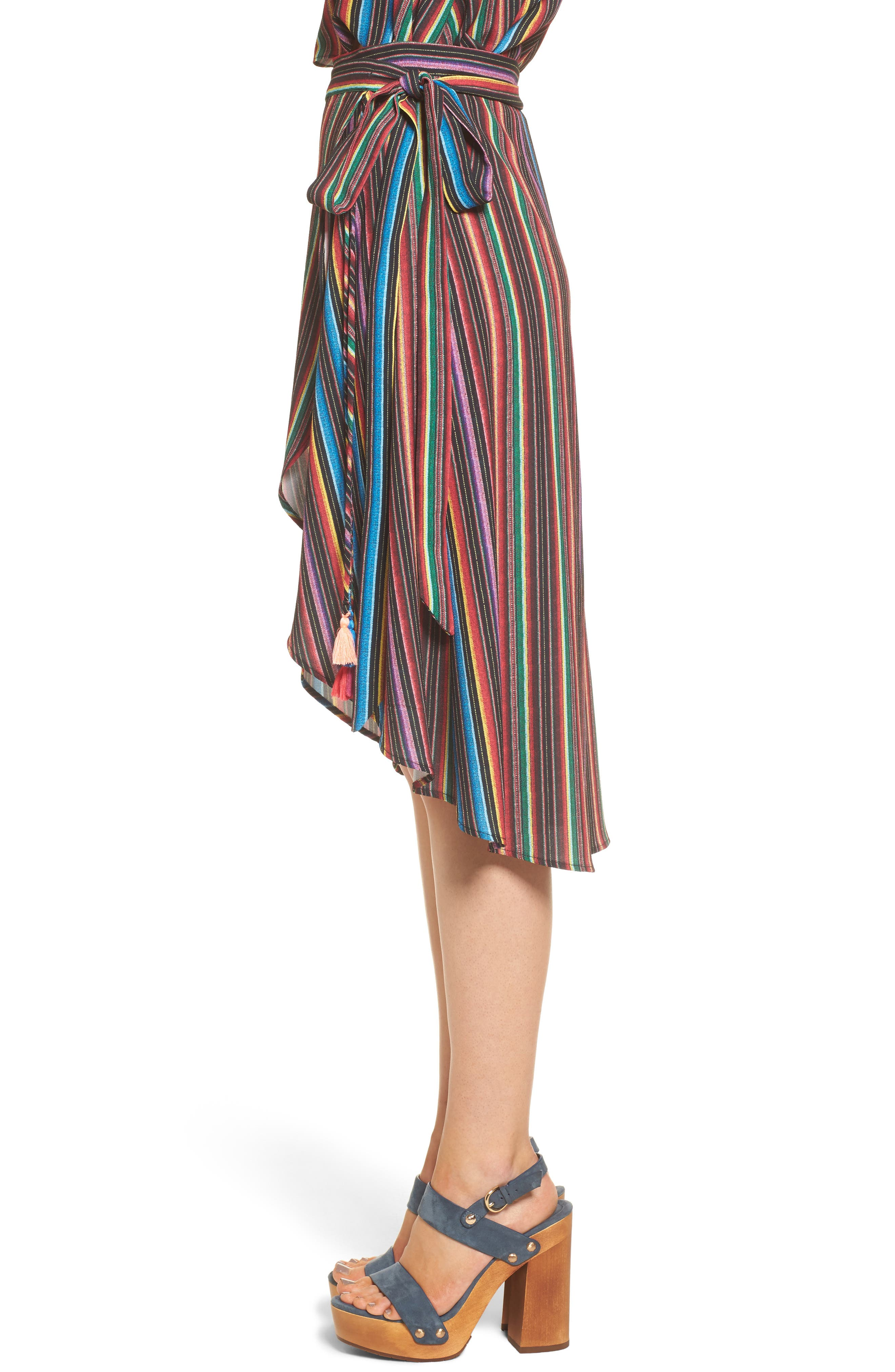 Panama Tassel Wrap Skirt,                             Alternate thumbnail 3, color,                             001