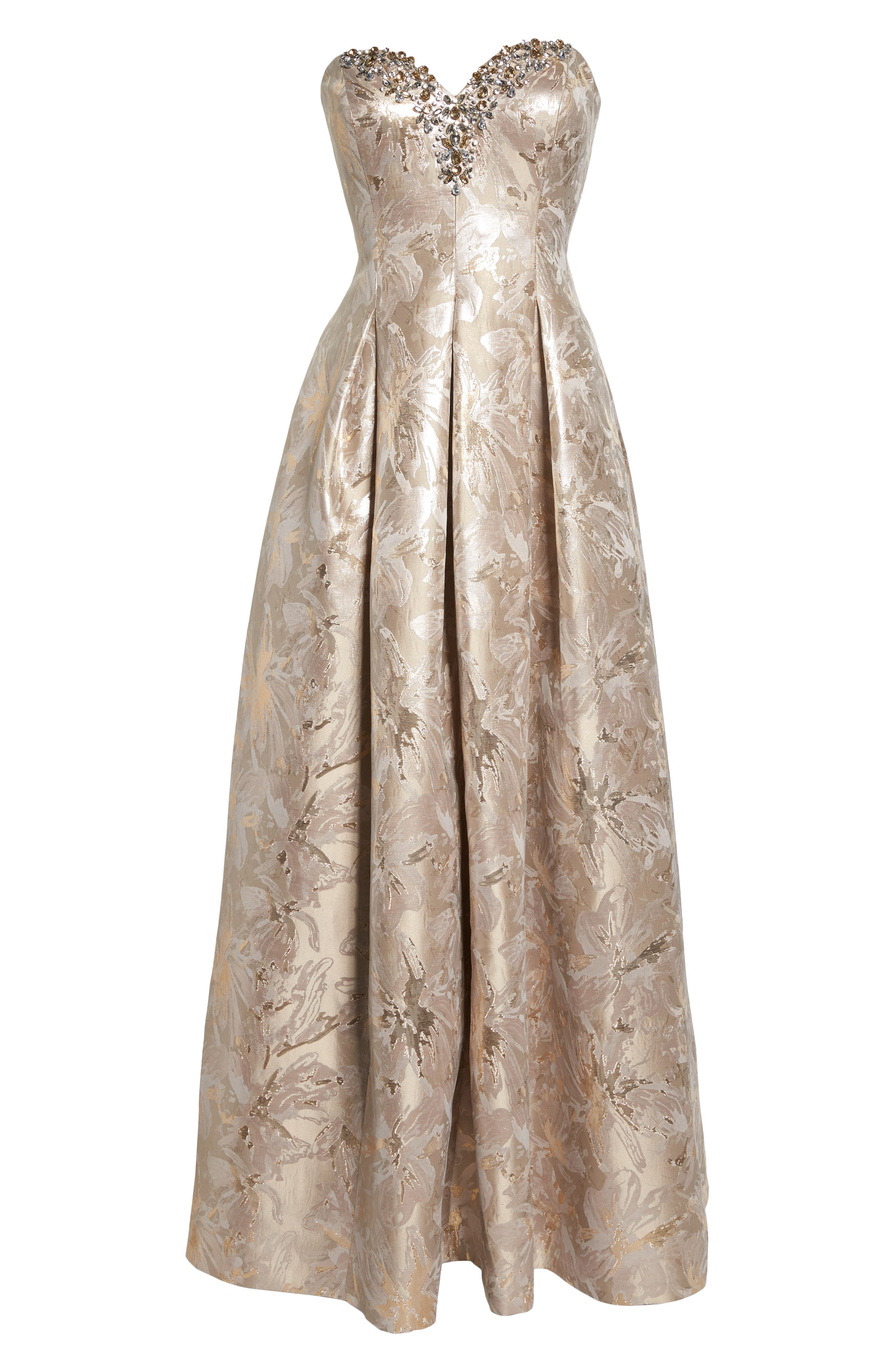 Bejeweled Neckline Strapless Ballgown,                             Alternate thumbnail 7, color,                             CHAMPAGNE