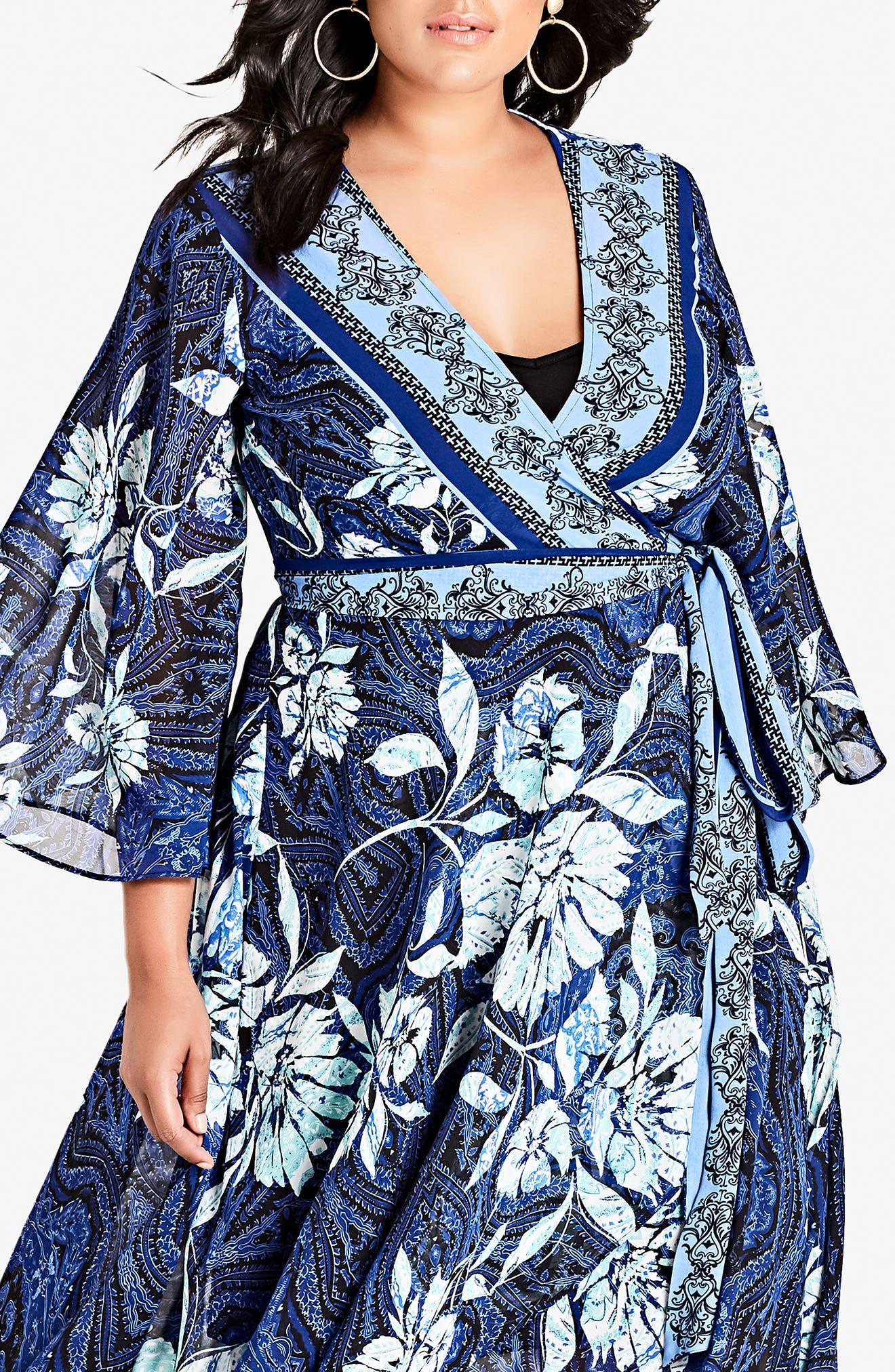 Blue Illusion High/Low Wrap Dress,                             Alternate thumbnail 3, color,                             BLUE ILLUSION