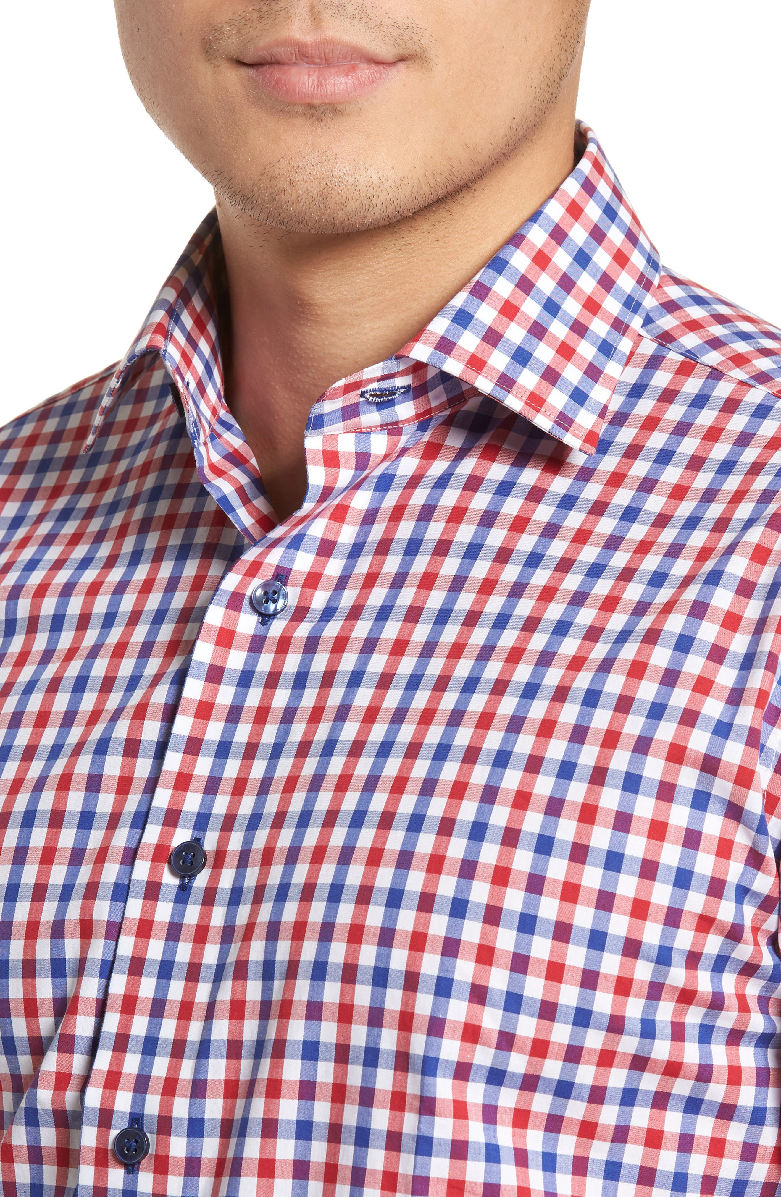 Trim Fit Check Dress Shirt,                             Alternate thumbnail 2, color,                             NAVY/ RED