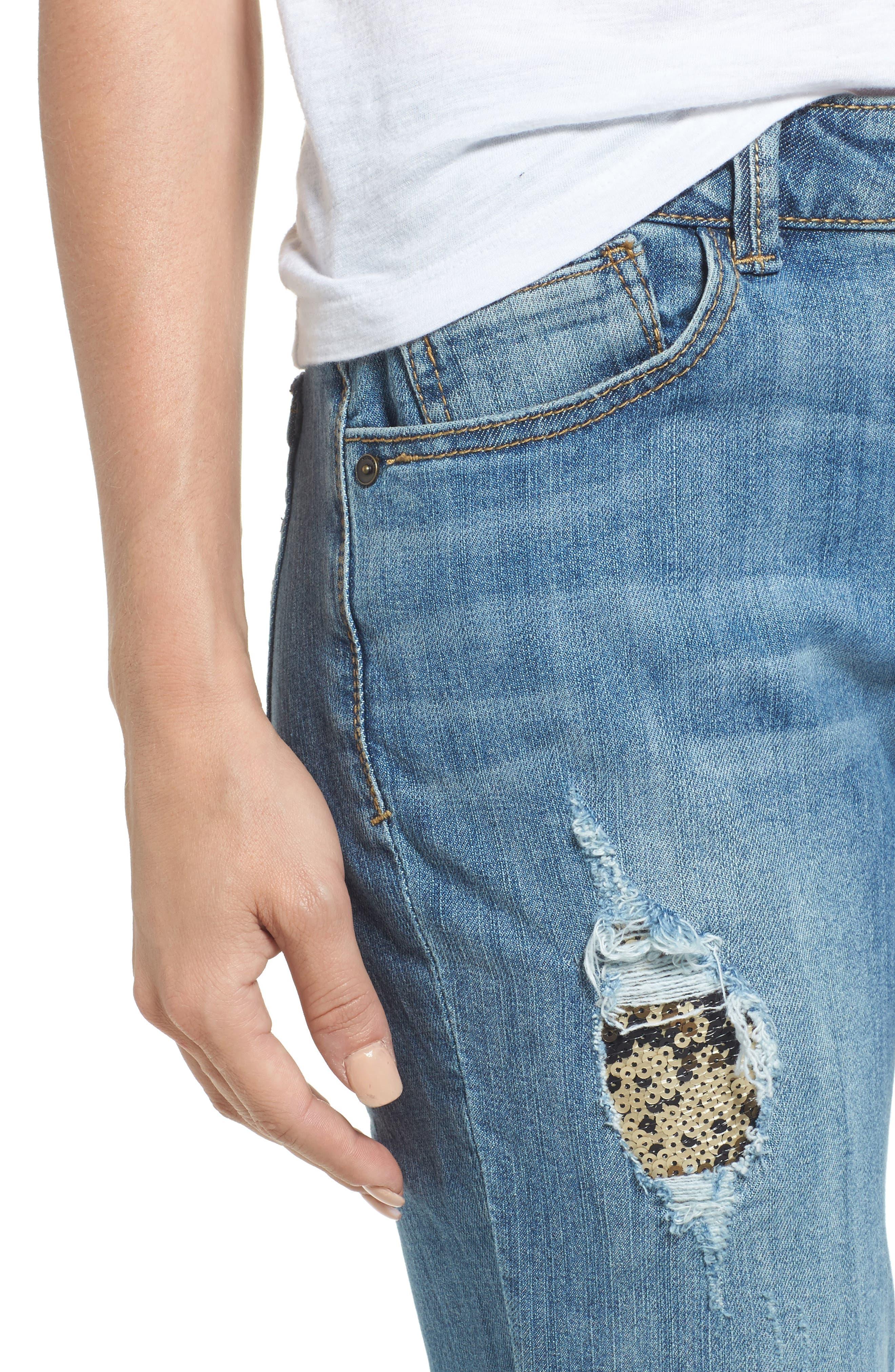 Flexellent Skinny Girlfriend Jeans,                             Alternate thumbnail 4, color,                             458