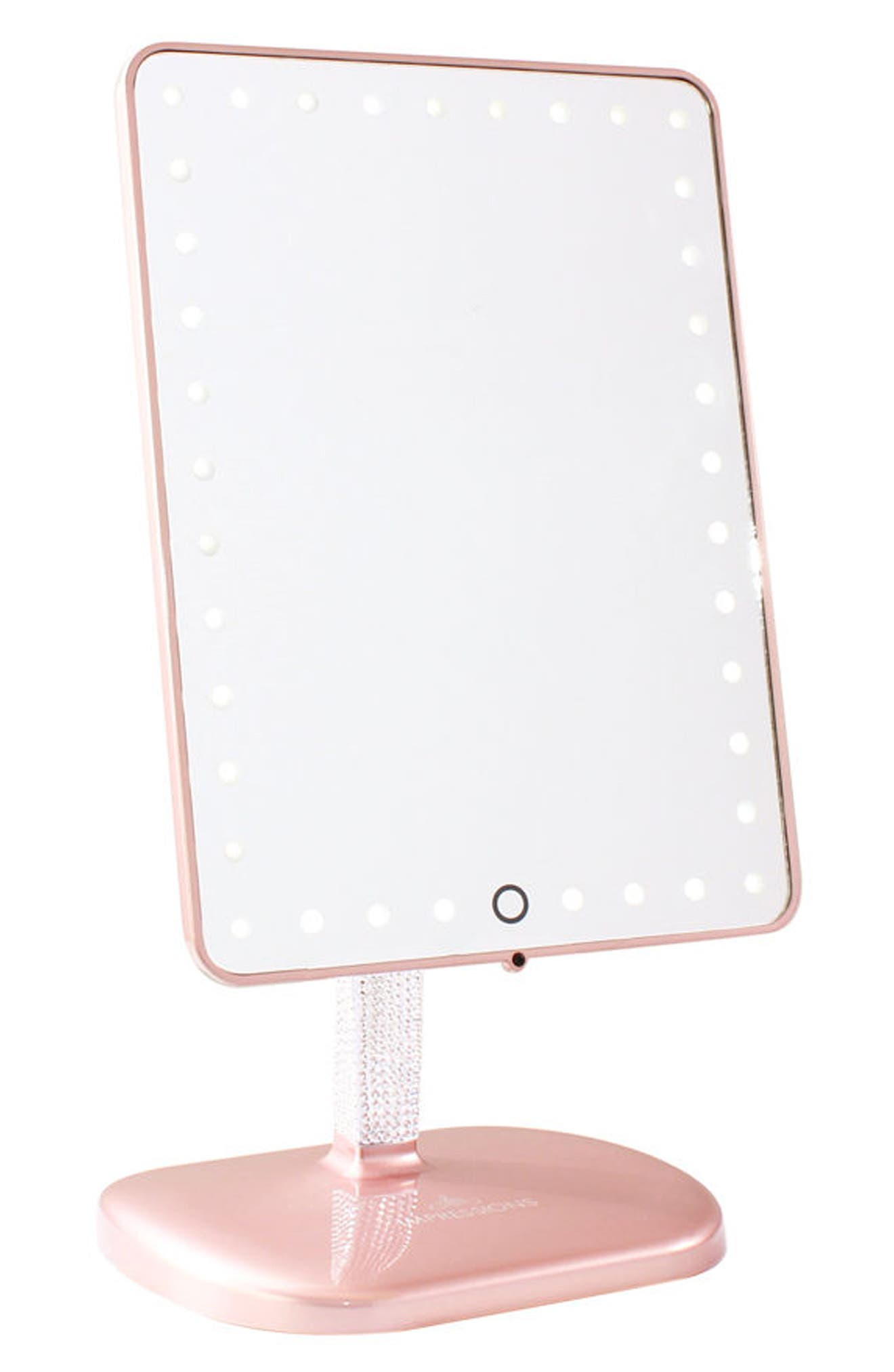 Bling Touch Pro LED Makeup Mirror with Bluetooth<sup>®</sup> Audio & Speakerphone,                             Main thumbnail 1, color,                             ROSE GOLD BLING EDITION
