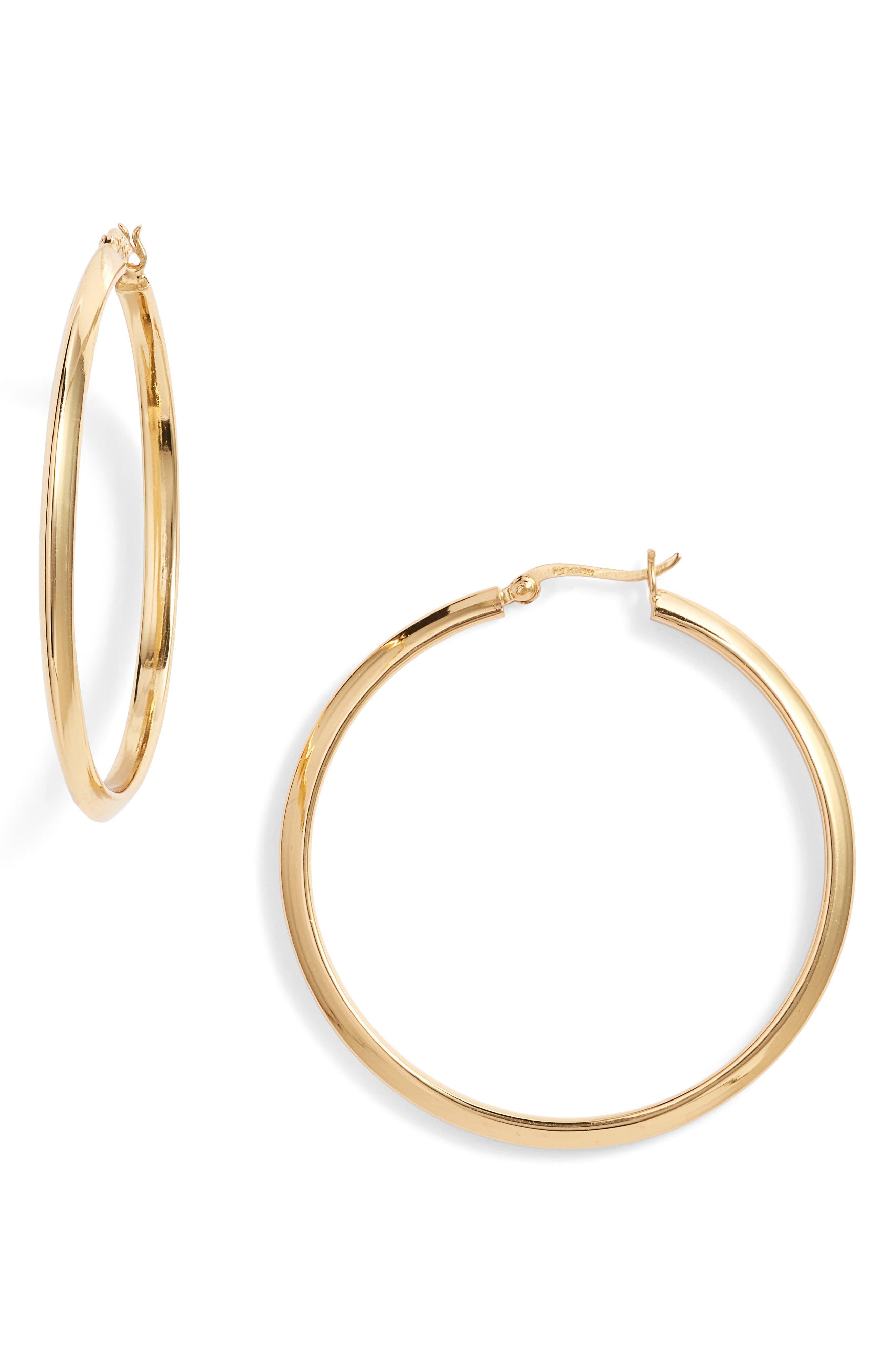 Flat Edge Hoop Earrings,                             Main thumbnail 2, color,