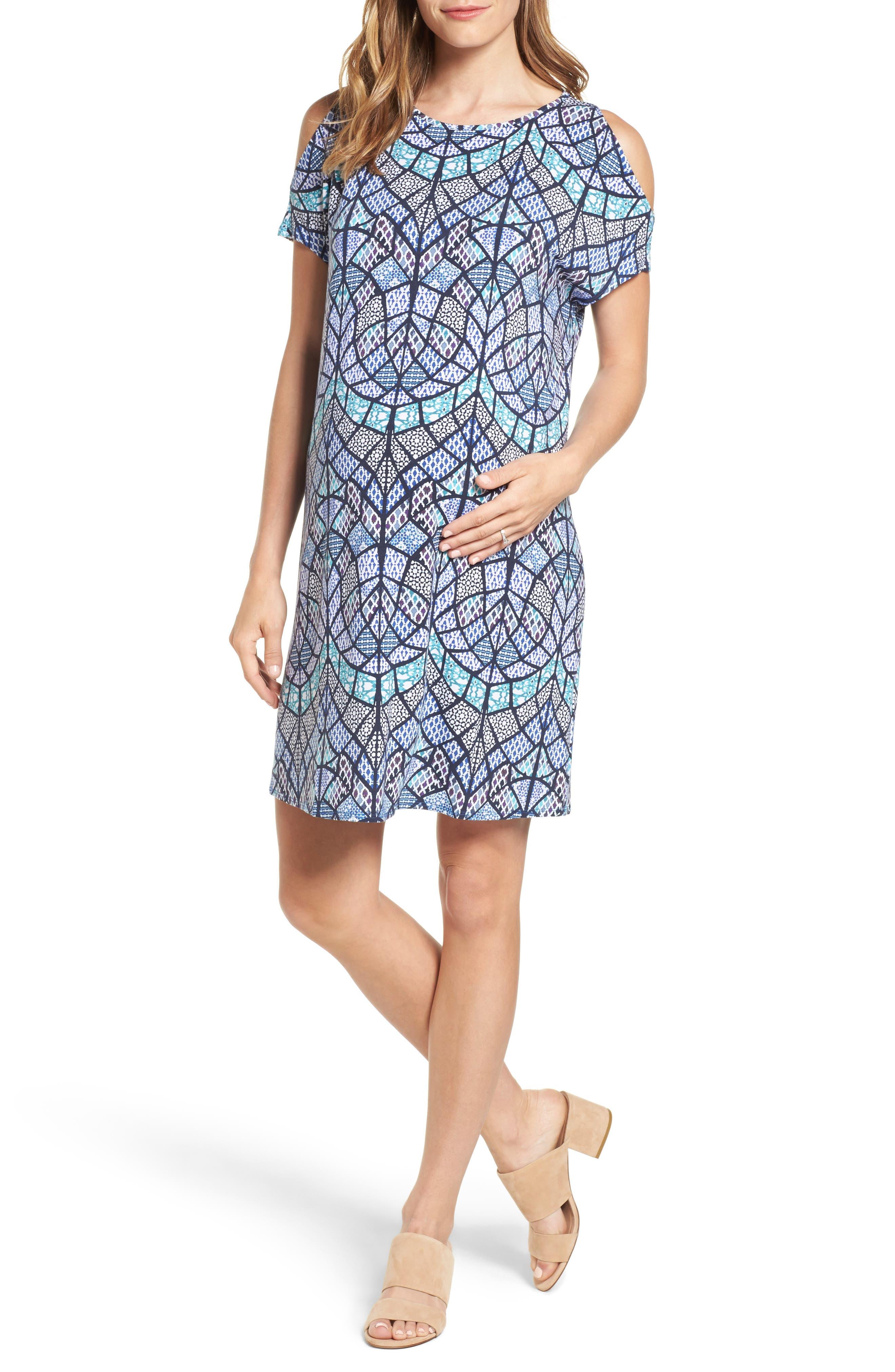 Caia Cold Shoulder Maternity Dress,                         Main,                         color, TILE MOSAIC
