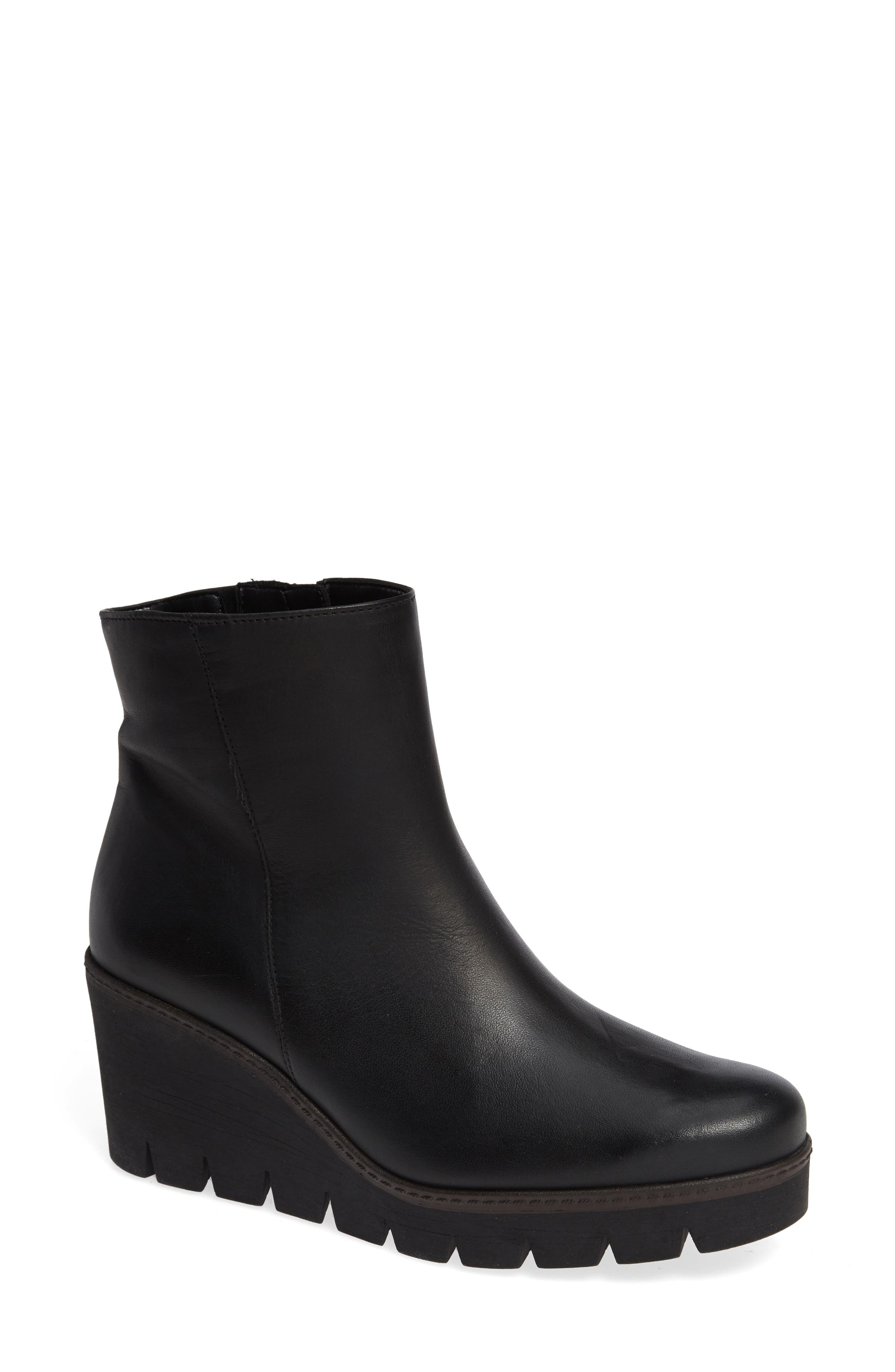 Friendly Wedge Bootie,                             Main thumbnail 1, color,                             BLACK LEATHER