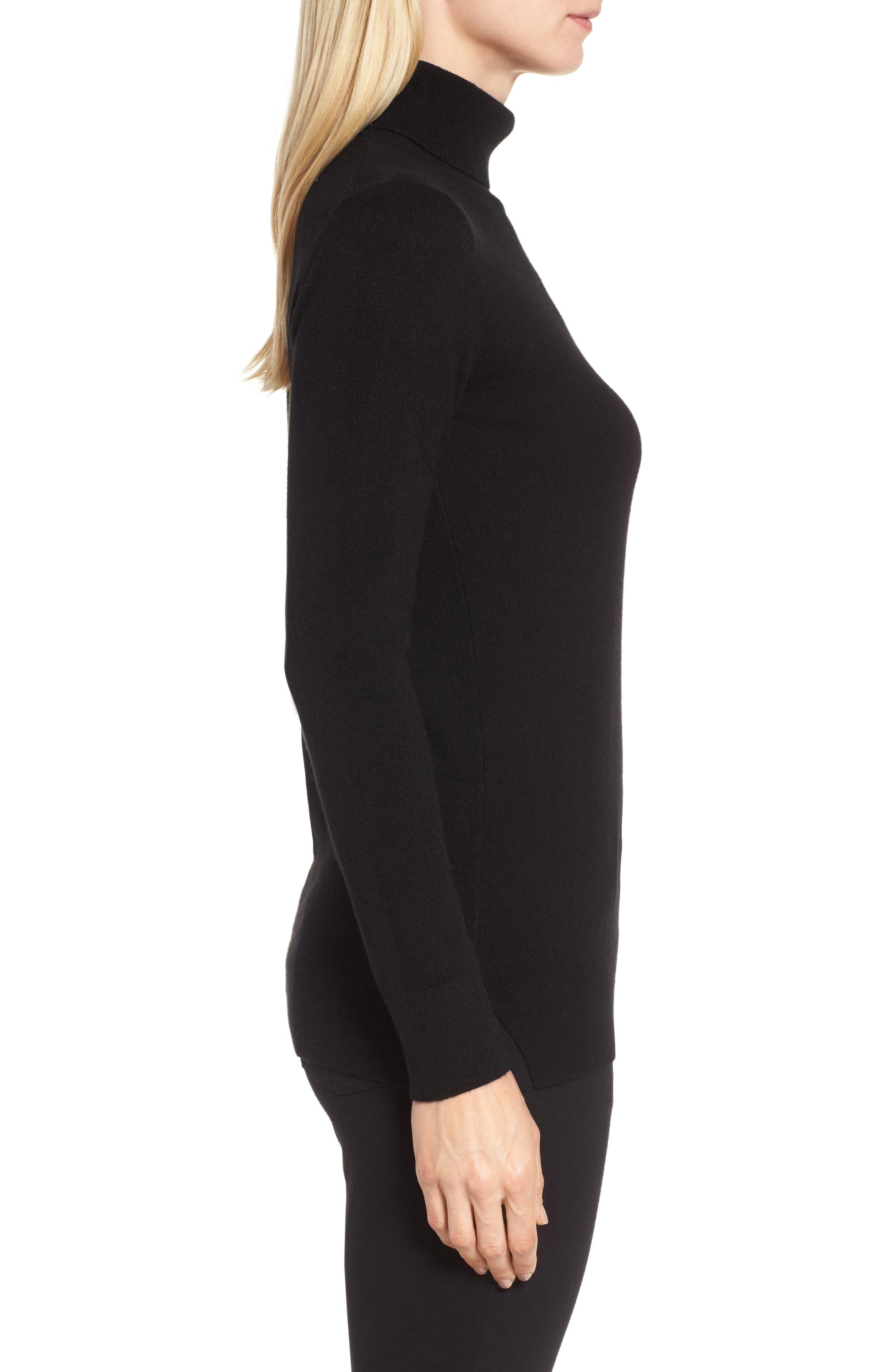 Turtleneck Cashmere Sweater,                             Alternate thumbnail 3, color,                             BLACK
