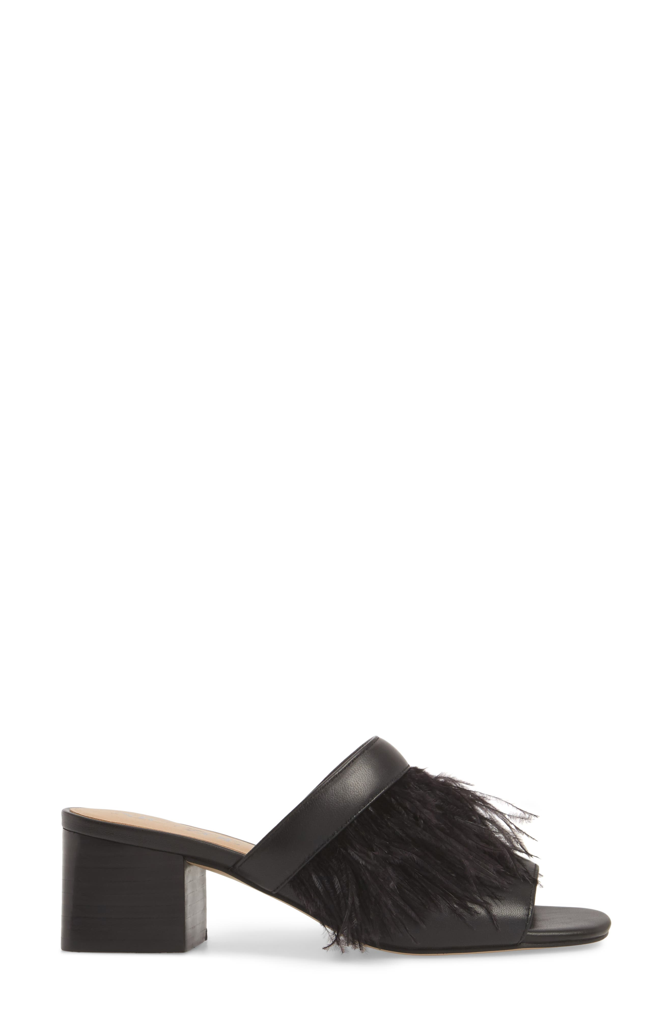 NIC + ZOE Feather Mule,                             Alternate thumbnail 3, color,                             BLACK LEATHER