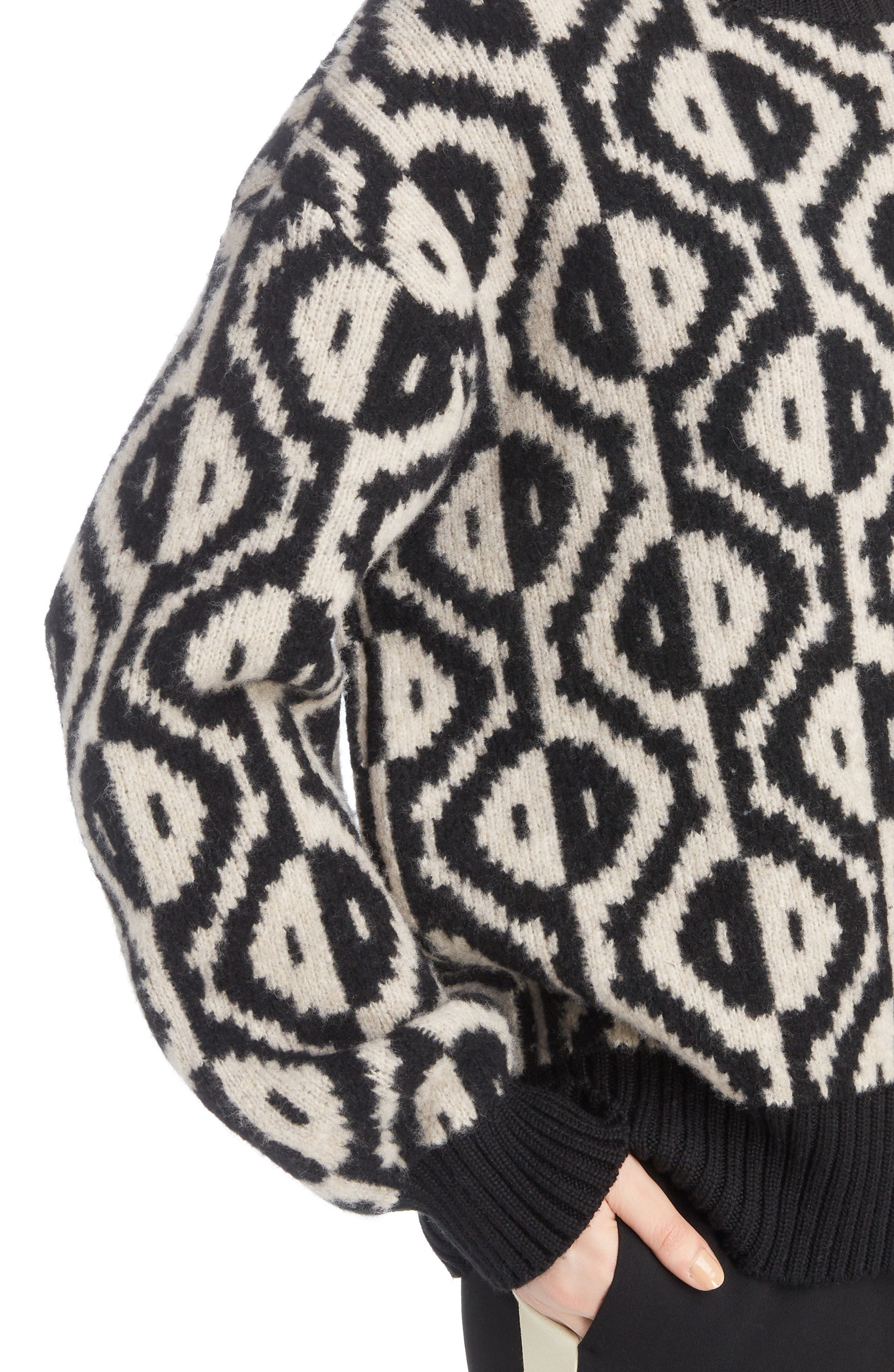 Geo Jacquard Merino Wool Blend Sweater,                             Alternate thumbnail 4, color,                             001