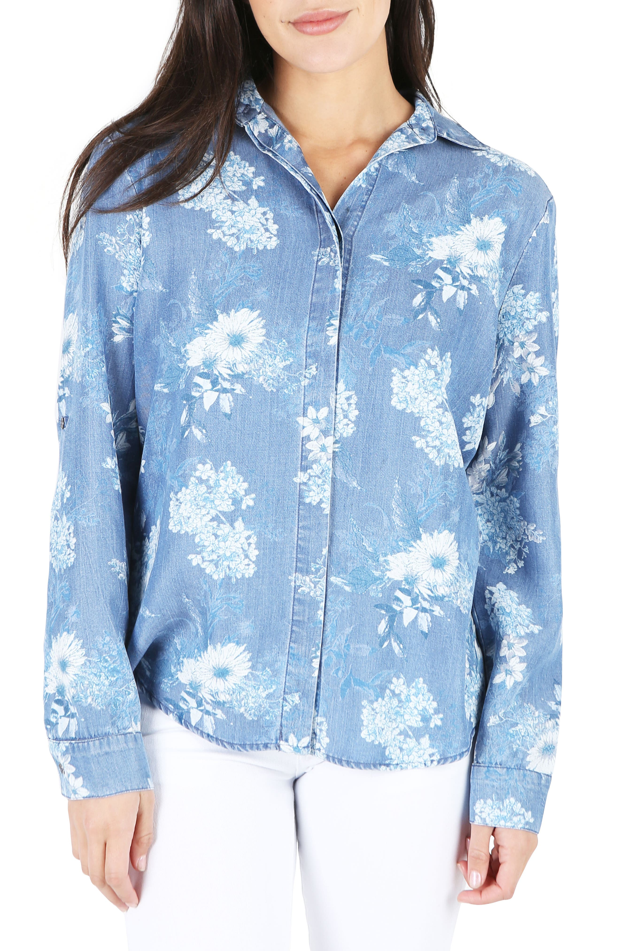 Floral Chambray Top,                         Main,                         color,