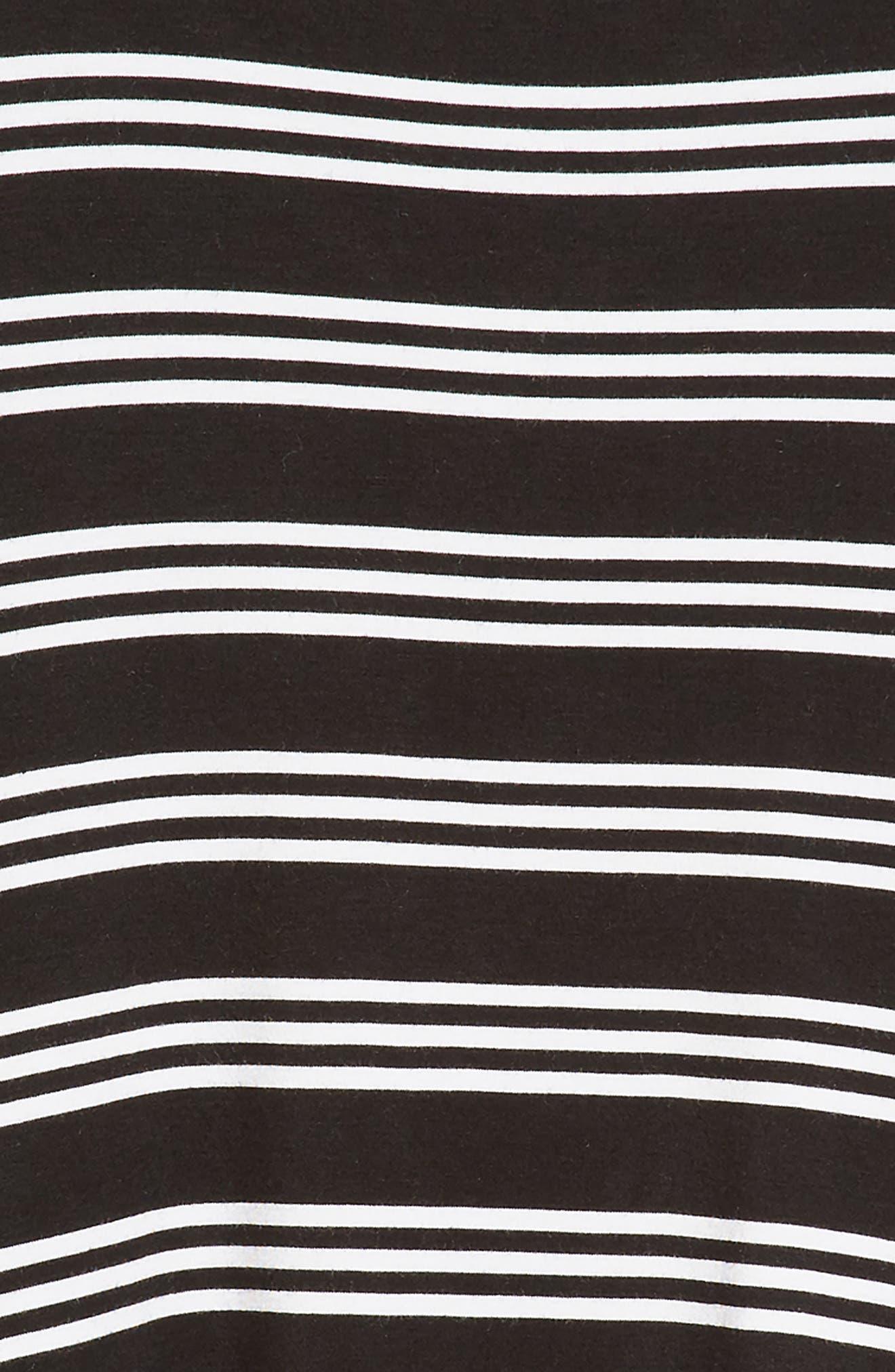 Stripe Trapeze Dress,                             Alternate thumbnail 3, color,                             BLACK- WHITE STRIPE