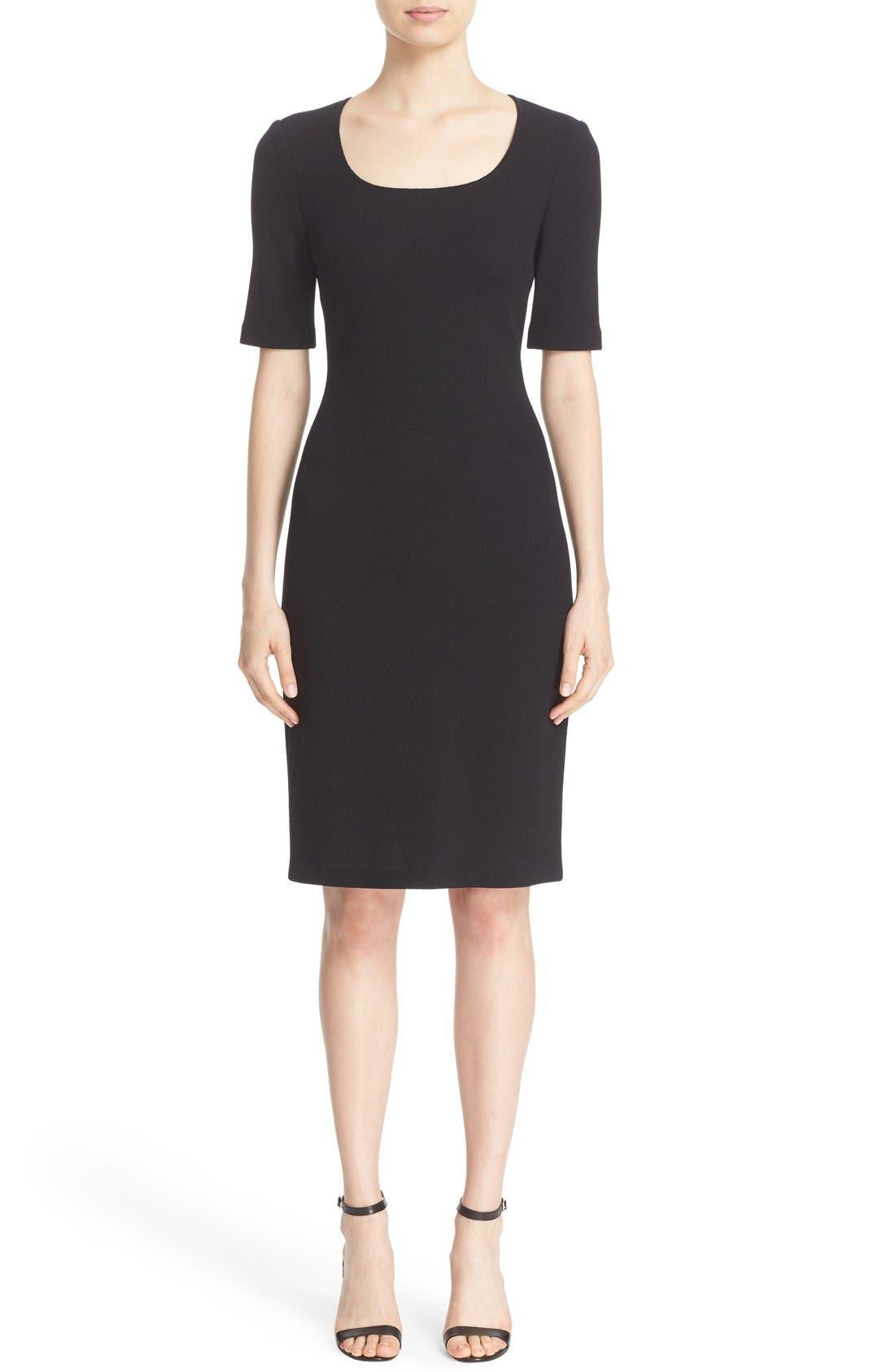 Milano Piqué Knit Scoop Neck Dress,                         Main,                         color, 001
