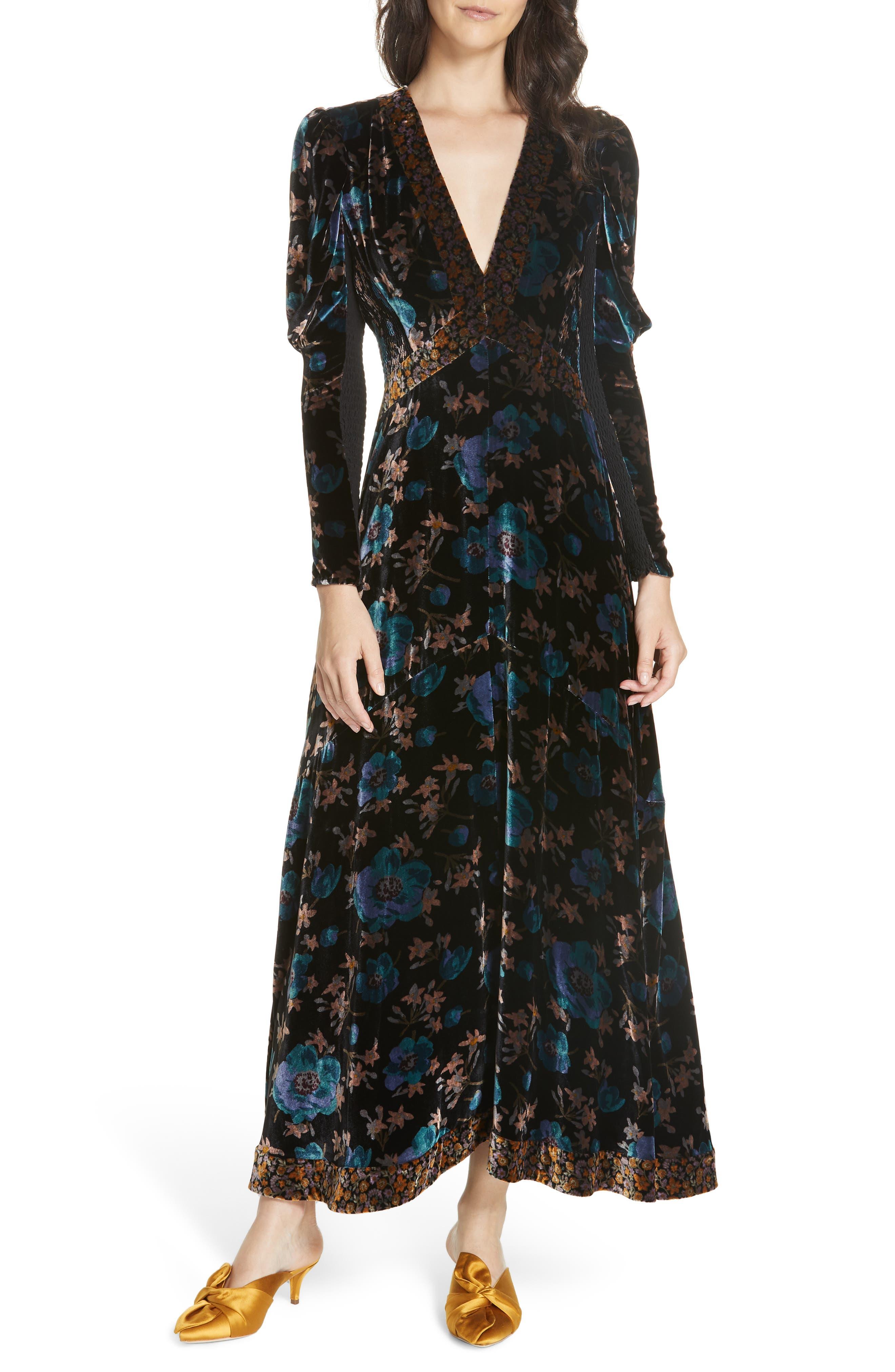 Solstice Velvet Maxi Dress,                         Main,                         color, BLACK COMBO