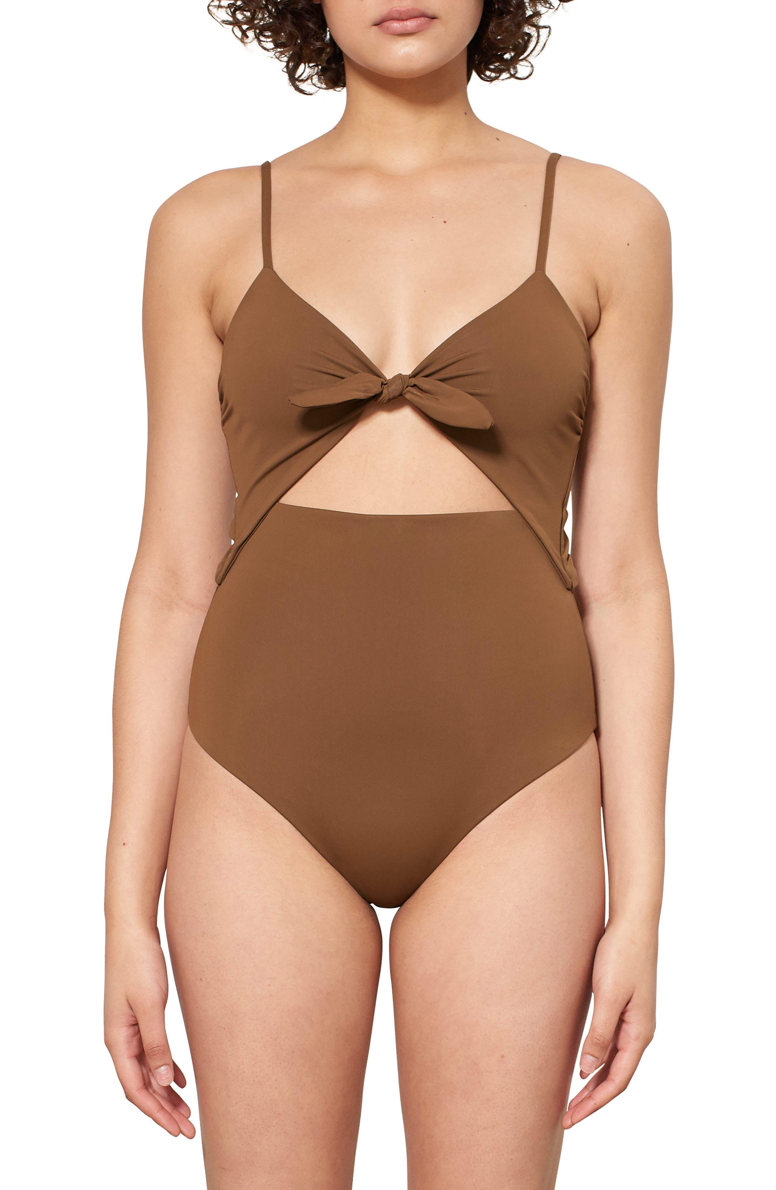 Kia Cutout One-Piece Swimsuit,                         Main,                         color, CUMINO