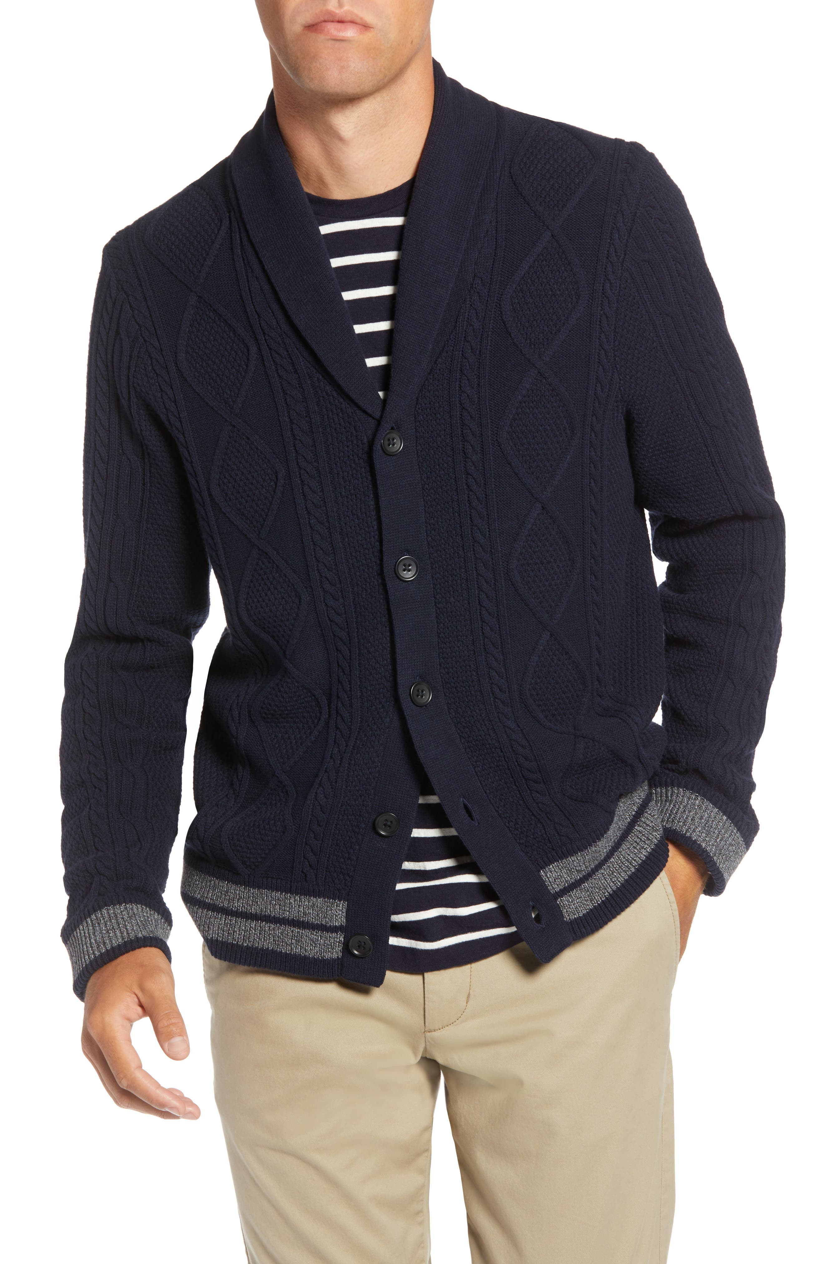 Cable Knit Shawl Collar Cardigan,                             Main thumbnail 1, color,                             NAVY NIGHT