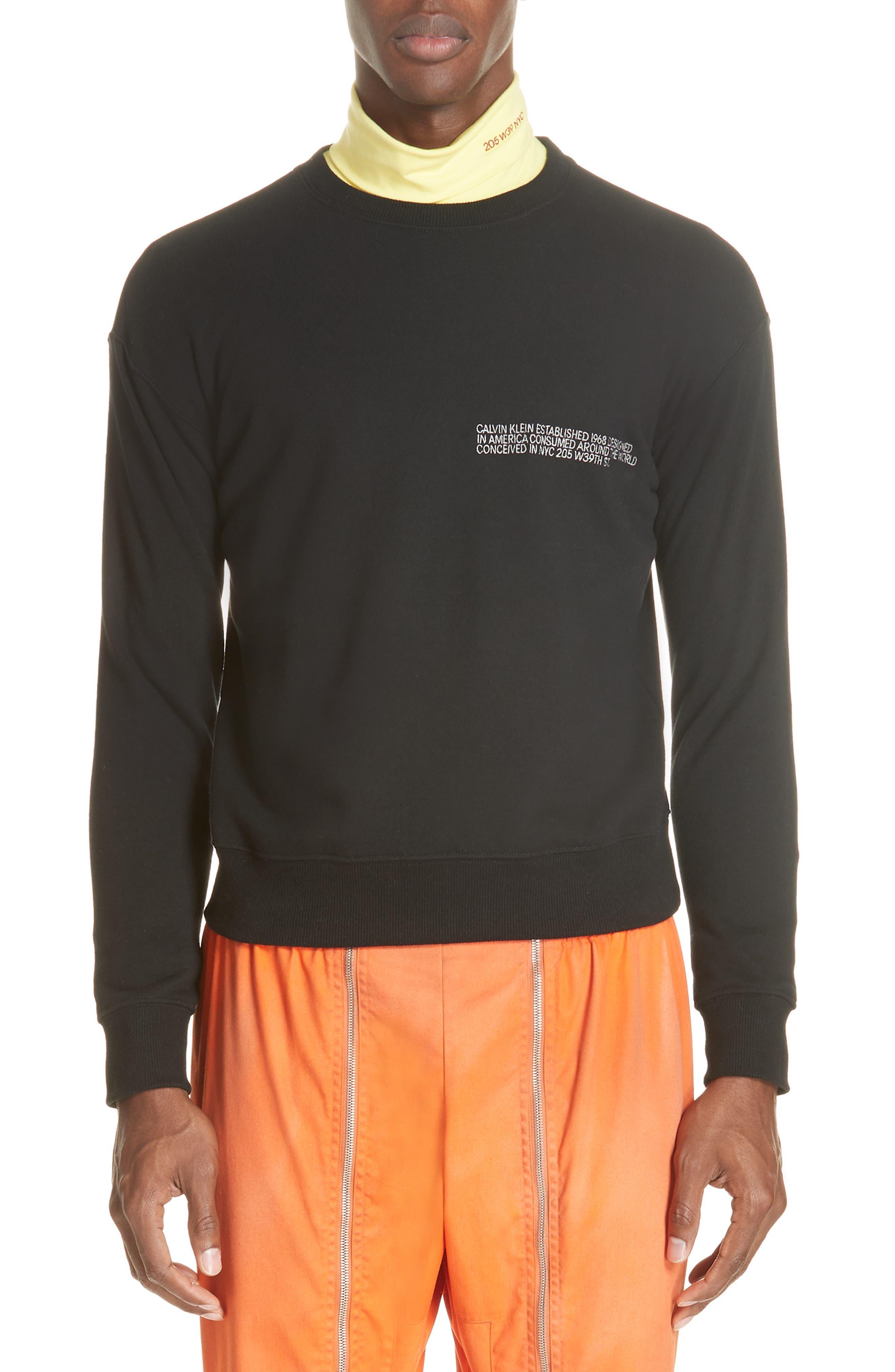 Established Embroidered Sweatshirt,                         Main,                         color, BLACK