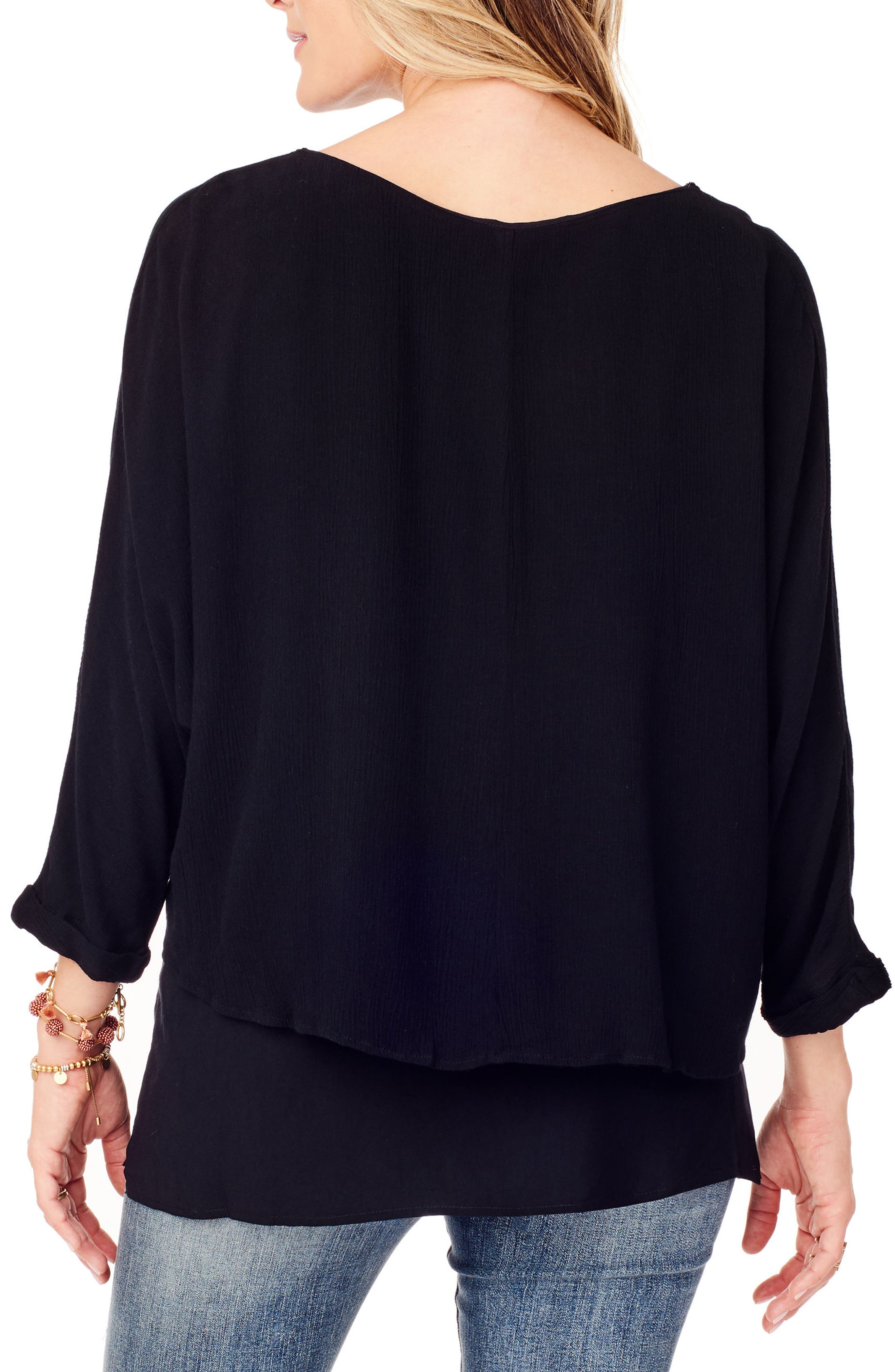 Double Layer Maternity/Nursing Top,                             Alternate thumbnail 2, color,                             JET BLACK