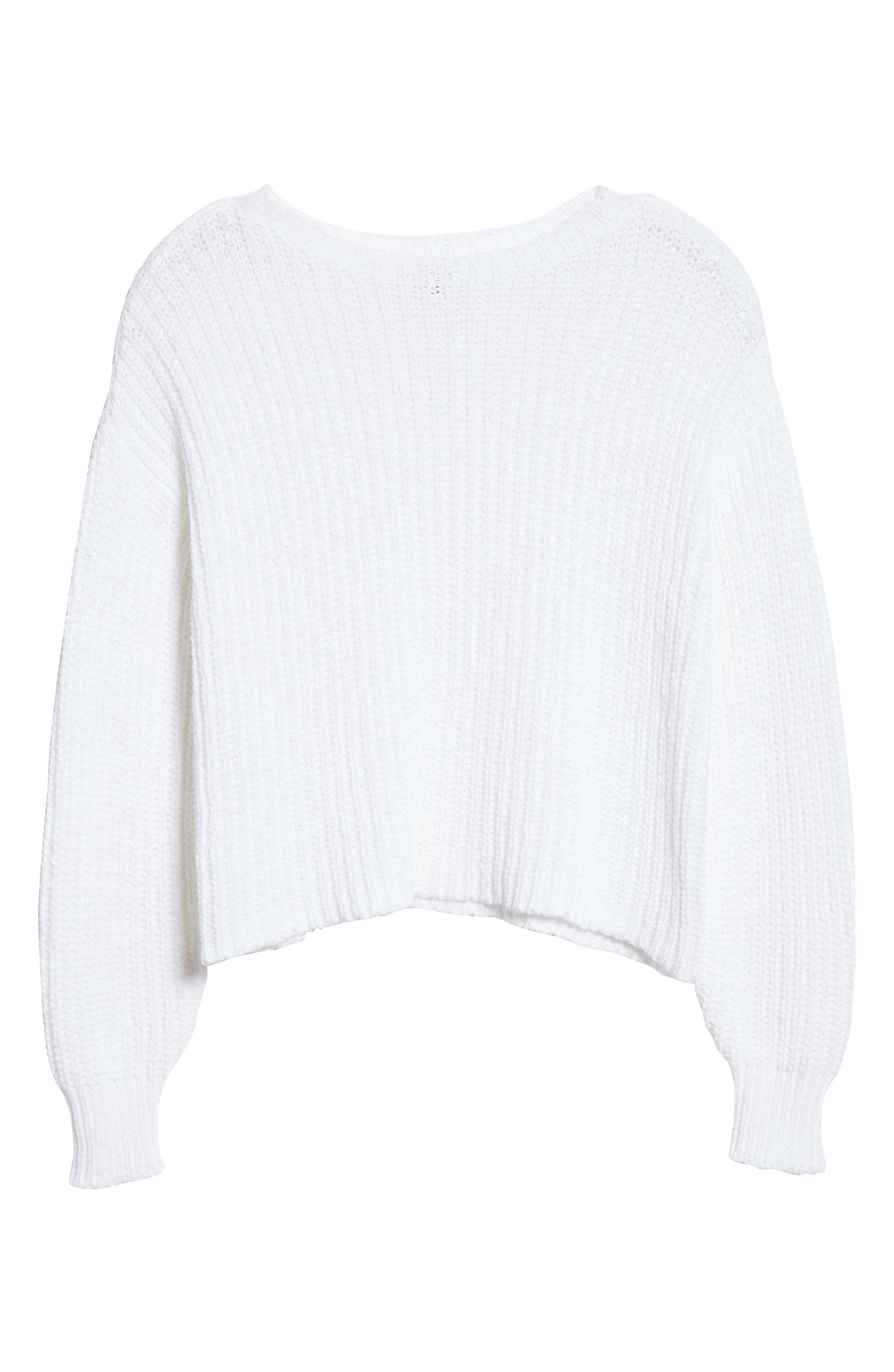 Crewneck Crop Shaker Sweater,                             Alternate thumbnail 7, color,                             WHITE