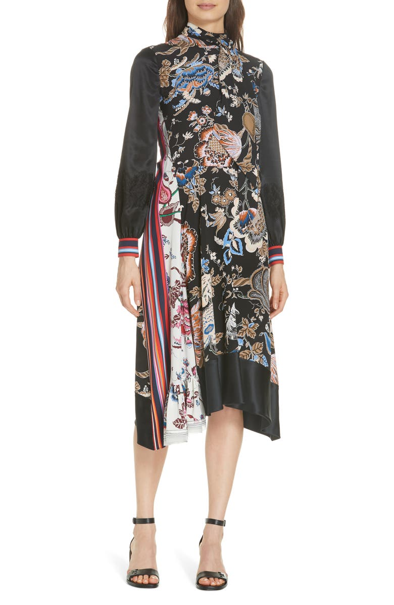 7a77a6ec653c Tory Burch Delilah Printed Silk Dress In Midnight Happy Times ...