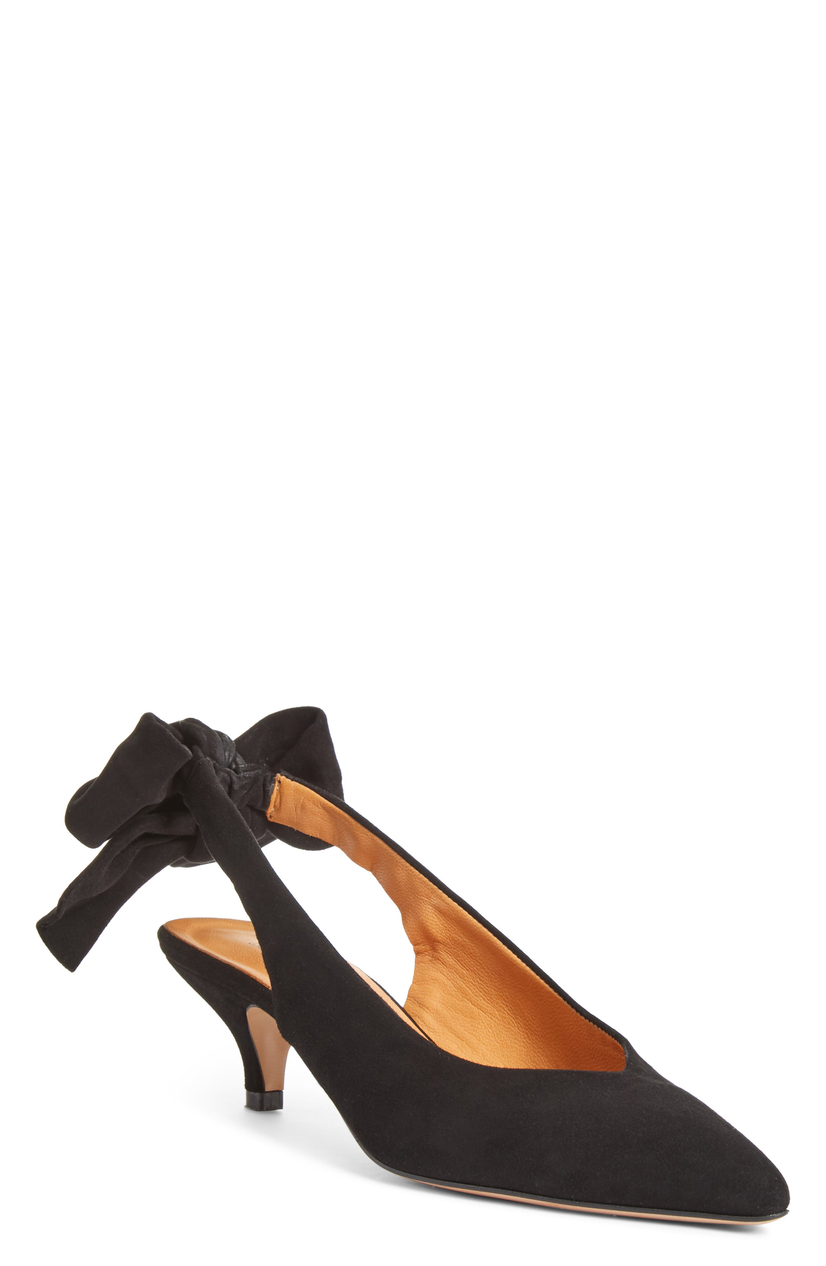 Bow Kitten Heel Pump,                             Main thumbnail 1, color,                             BLACK 099