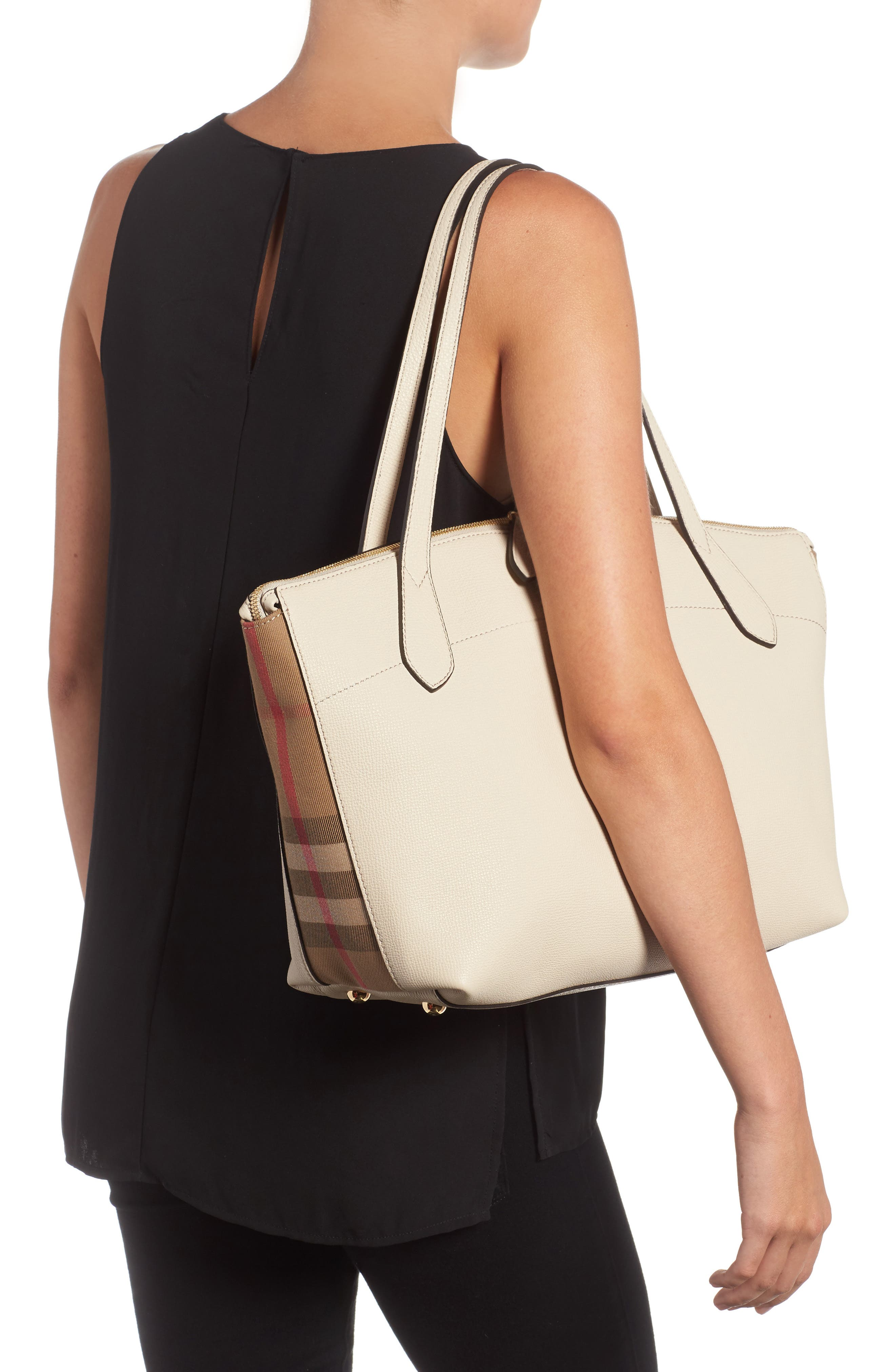 Welburn House Check & Leather Tote,                             Alternate thumbnail 2, color,                             900
