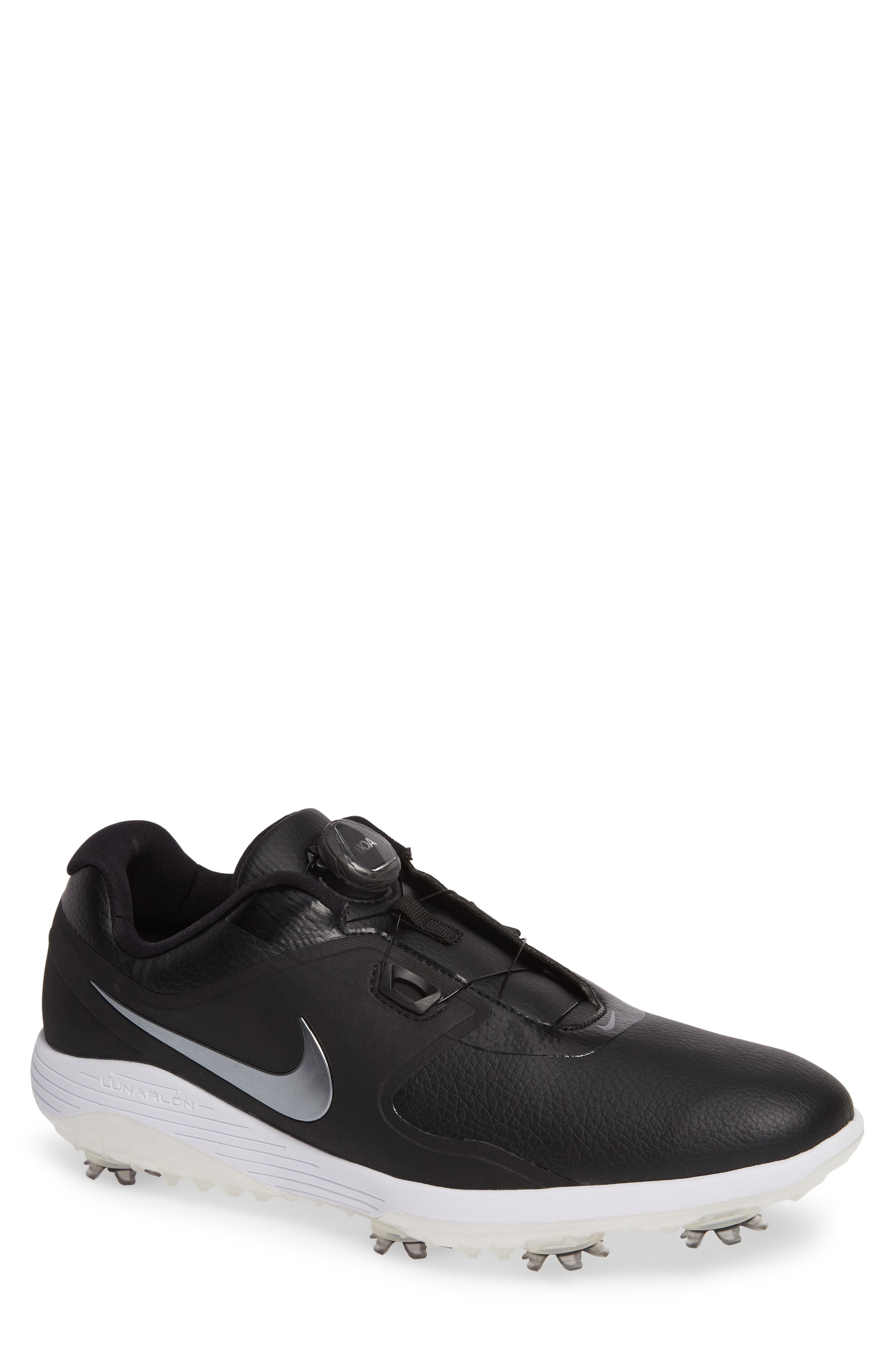 NIKE,                             Vapor Pro BOA Waterproof Golf Shoe,                             Main thumbnail 1, color,                             BLACK/ COOL GREY/ WHITE