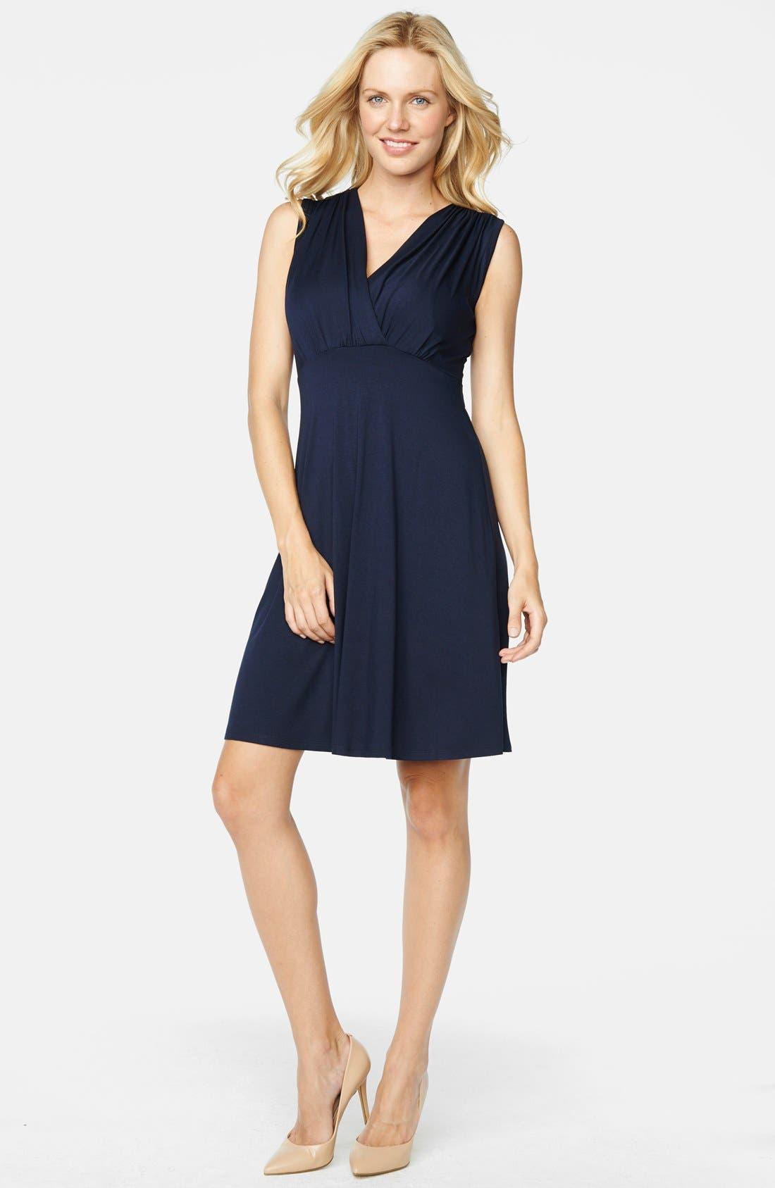 Maternal America Tummy Tuck Sleeveless Maternity/nursing Dress, Blue