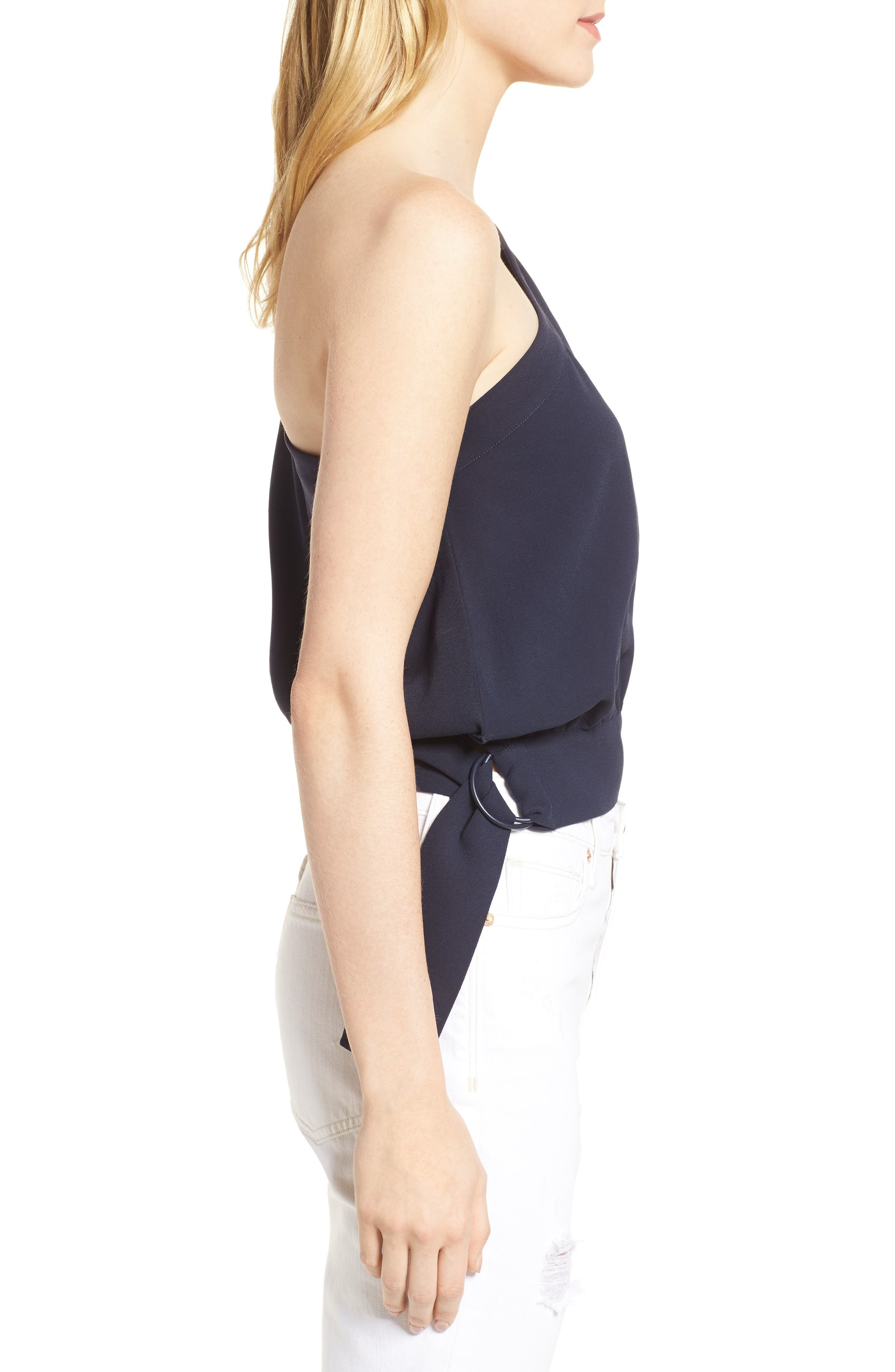 Mia One-Shoulder Side Tie Top,                             Alternate thumbnail 4, color,                             NIGHT SKY