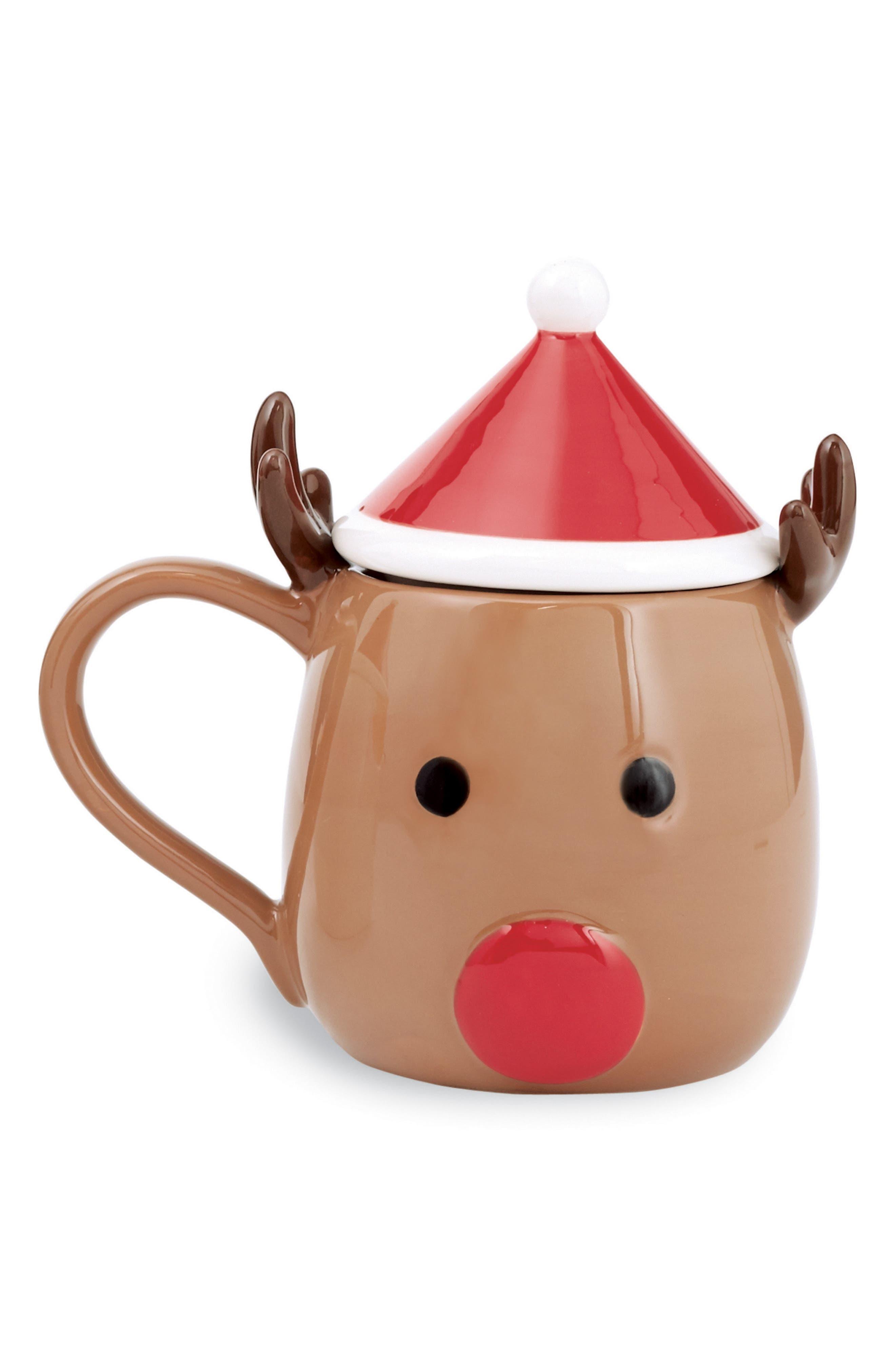 Reindeer Ceramic Mug & Lid,                         Main,                         color, 200