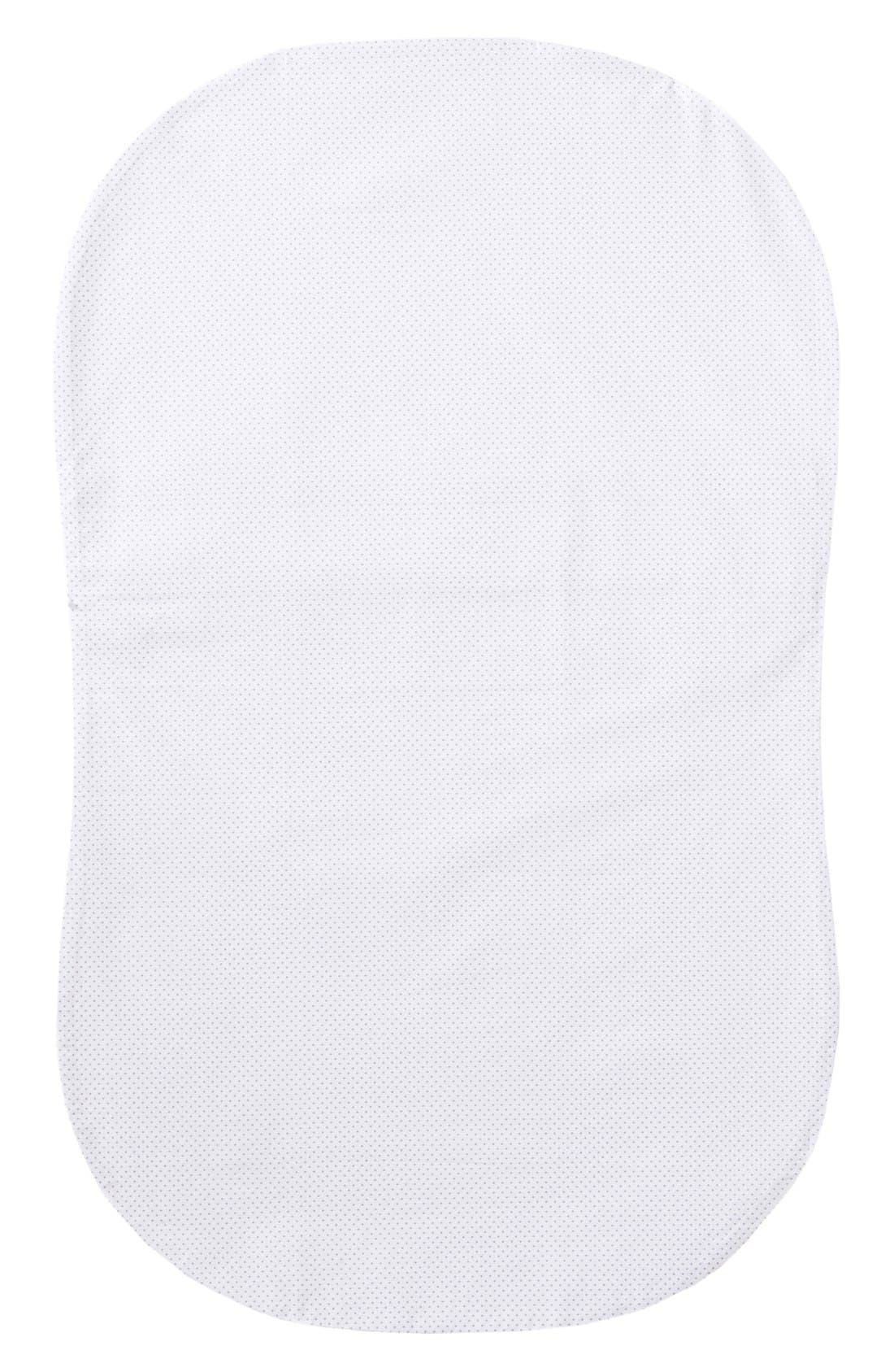 Cotton Fitted Sheet for Halo<sup>®</sup> Bassinest<sup>™</sup> Swivel Sleeper,                             Main thumbnail 1, color,                             GREY PIN DOT