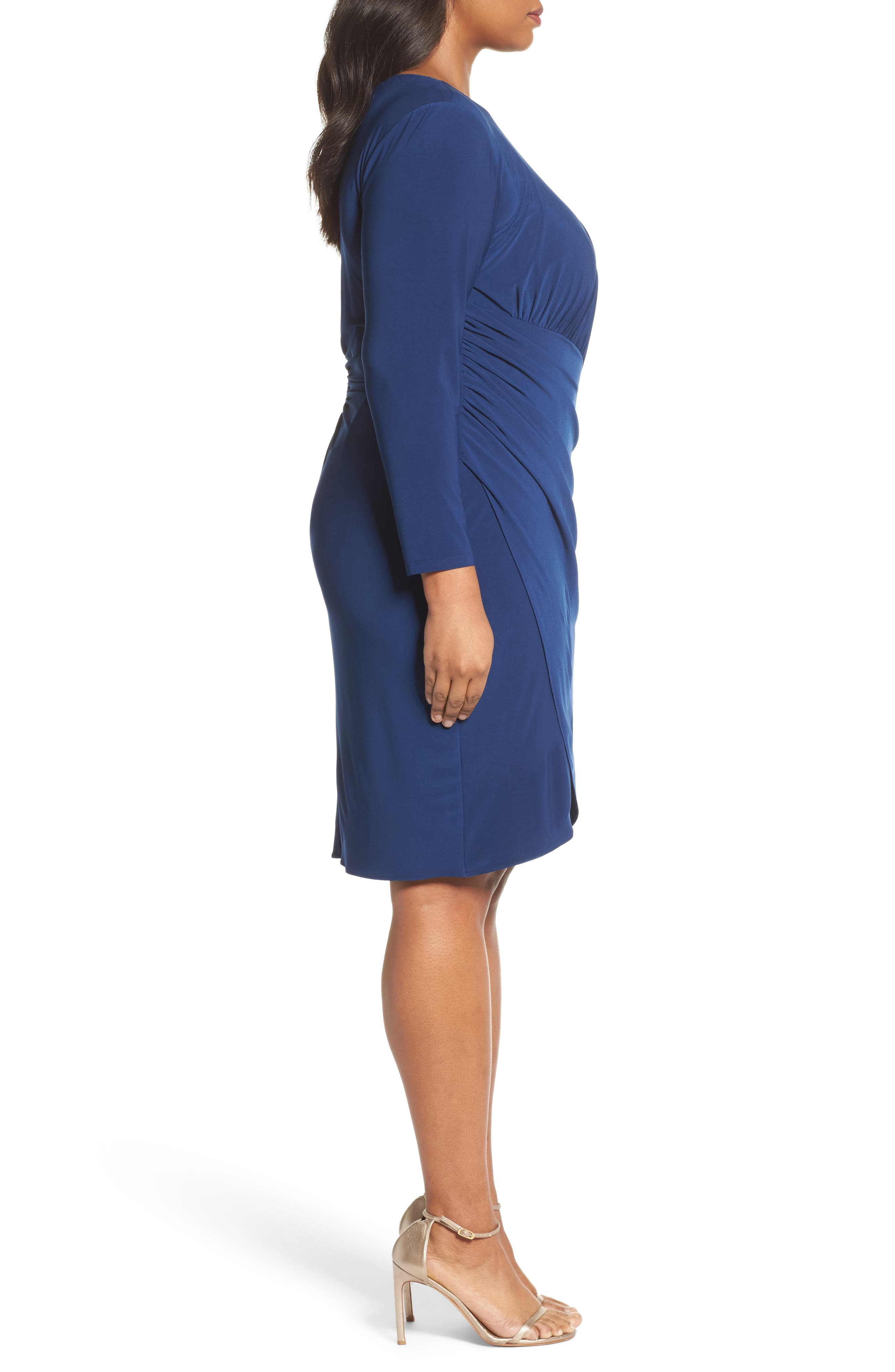 Faux Wrap Jersey Dress,                             Alternate thumbnail 3, color,                             412