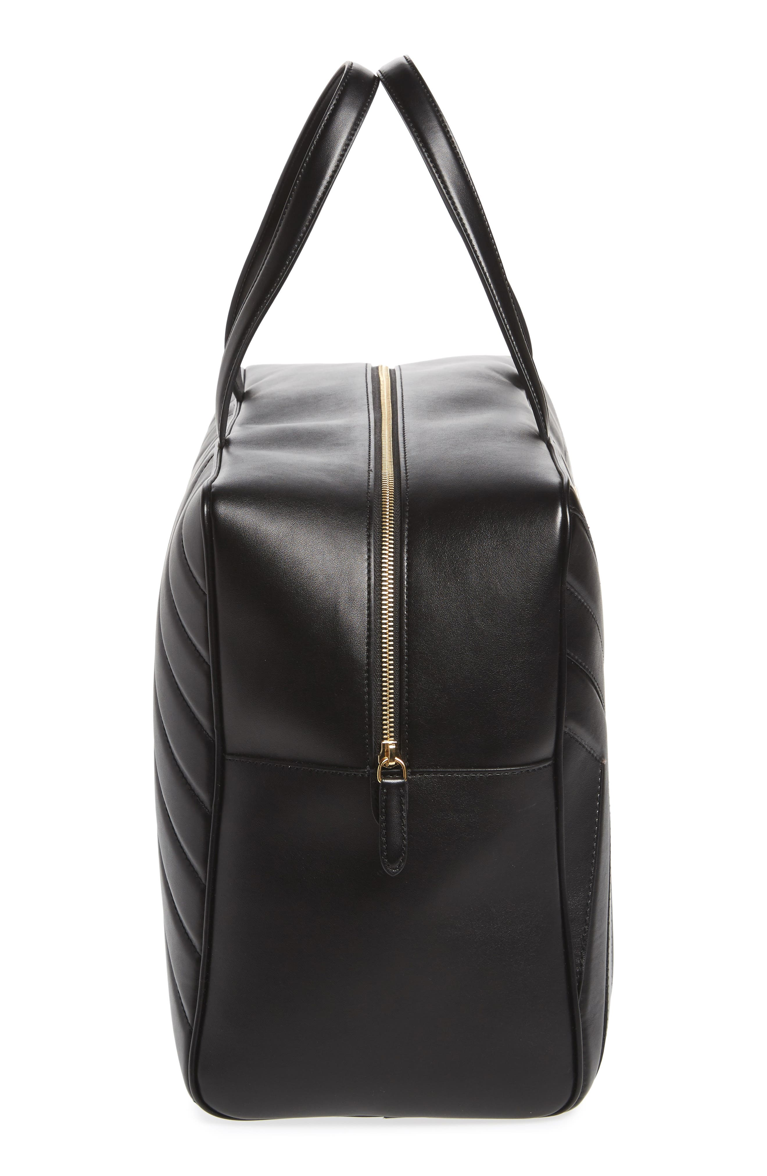 Alter Nappa Faux Leather Overnight Duffel,                             Alternate thumbnail 5, color,                             BLACK