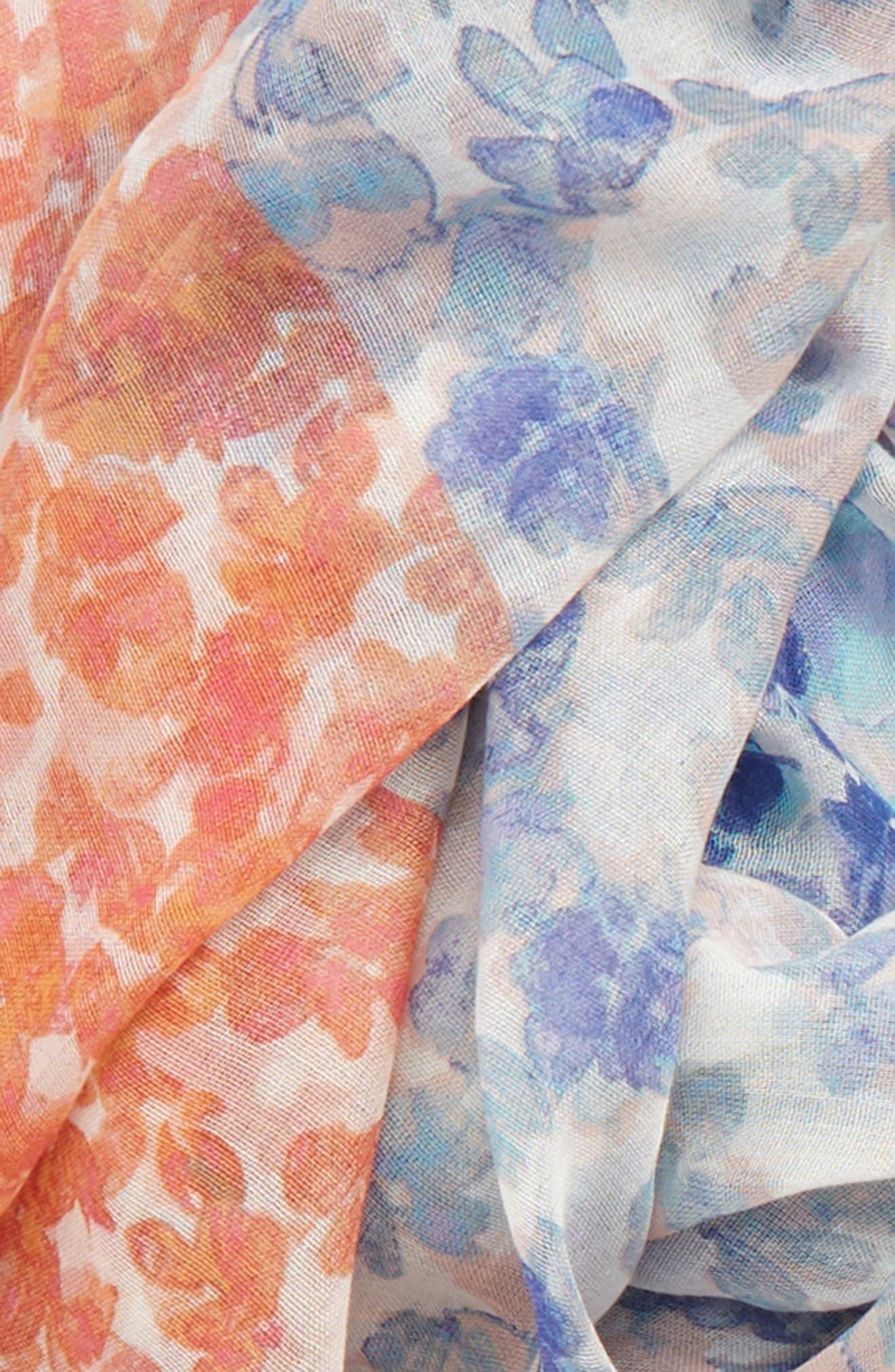 Print Modal & Silk Scarf,                             Alternate thumbnail 4, color,                             PURPLE BLOCK FLORA