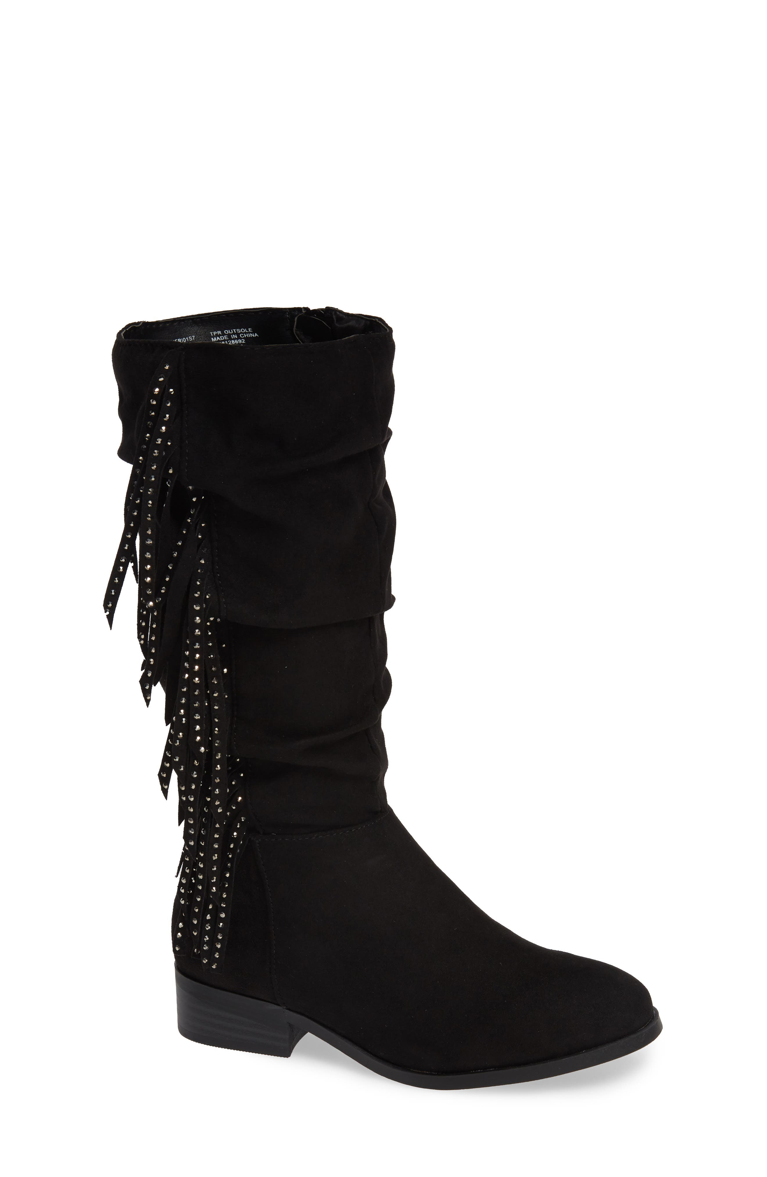 Jfringly Slouchy Fringed Boot,                             Main thumbnail 1, color,                             BLACK MICRO