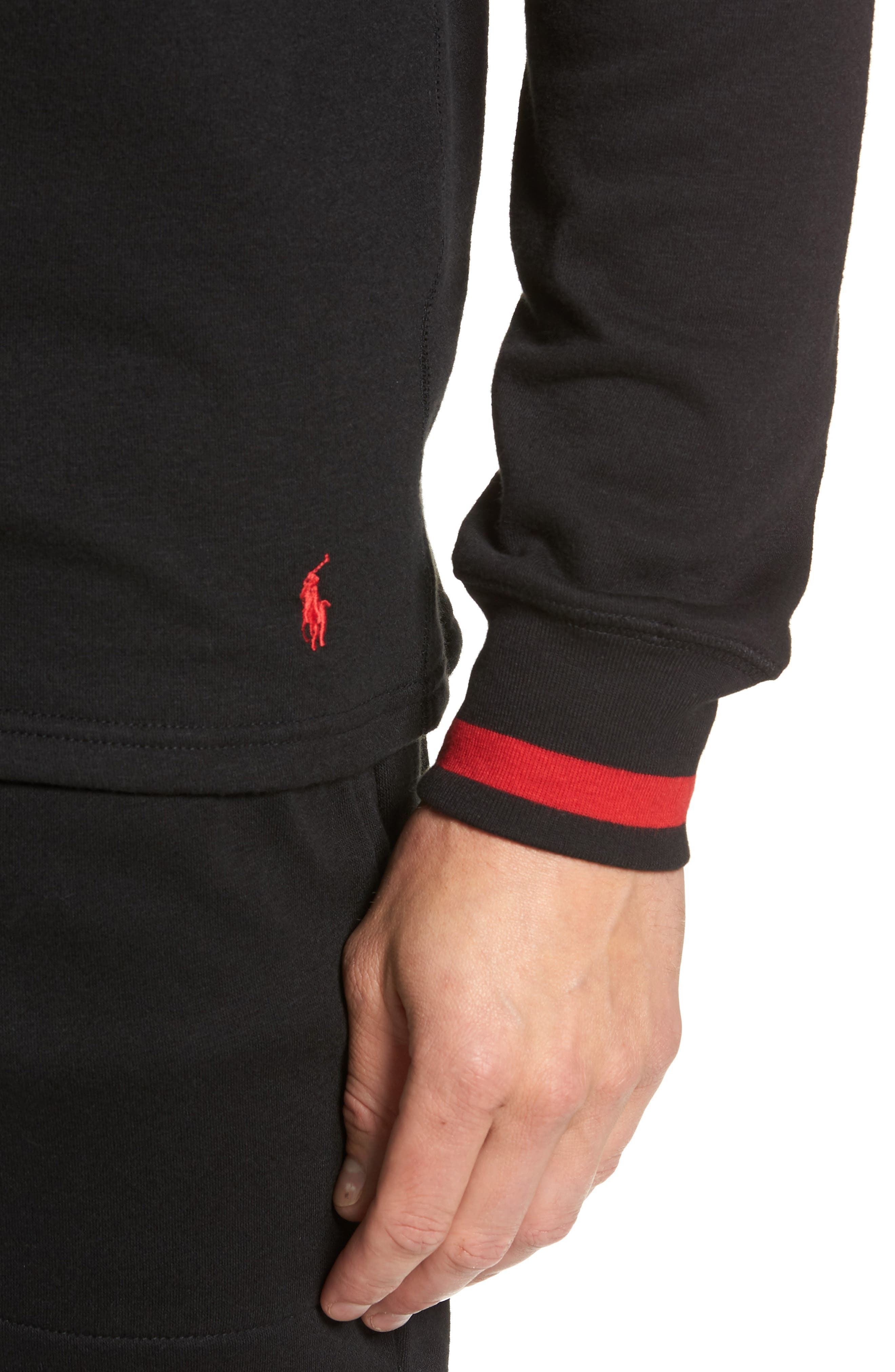 POLO RALPH LAUREN,                             Brushed Jersey Cotton Blend Crewneck Sweatshirt,                             Alternate thumbnail 4, color,                             POLO BLACK