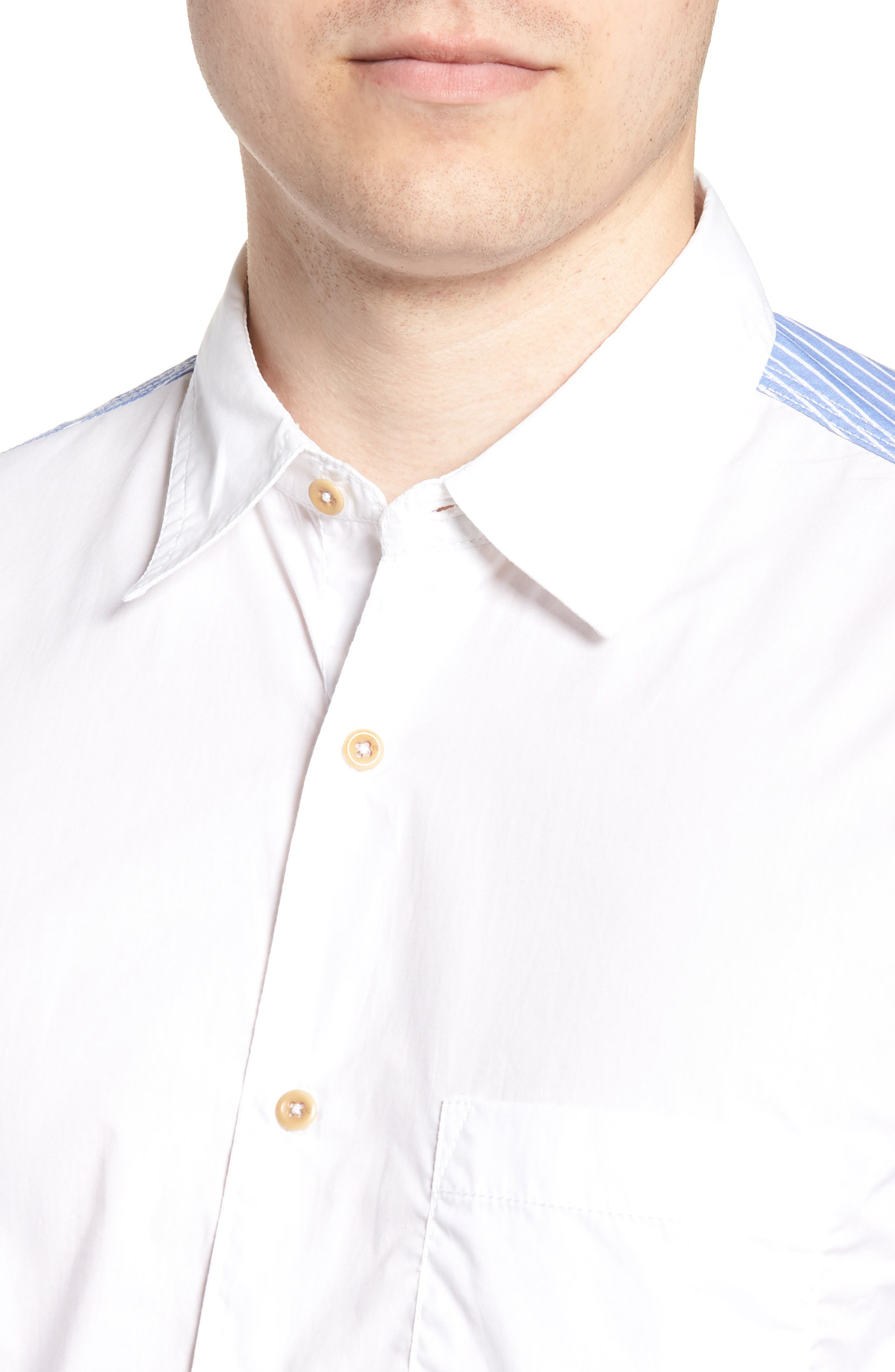 Stripe Hybrid Sport Shirt,                             Alternate thumbnail 4, color,                             WHITE RICH BLUE