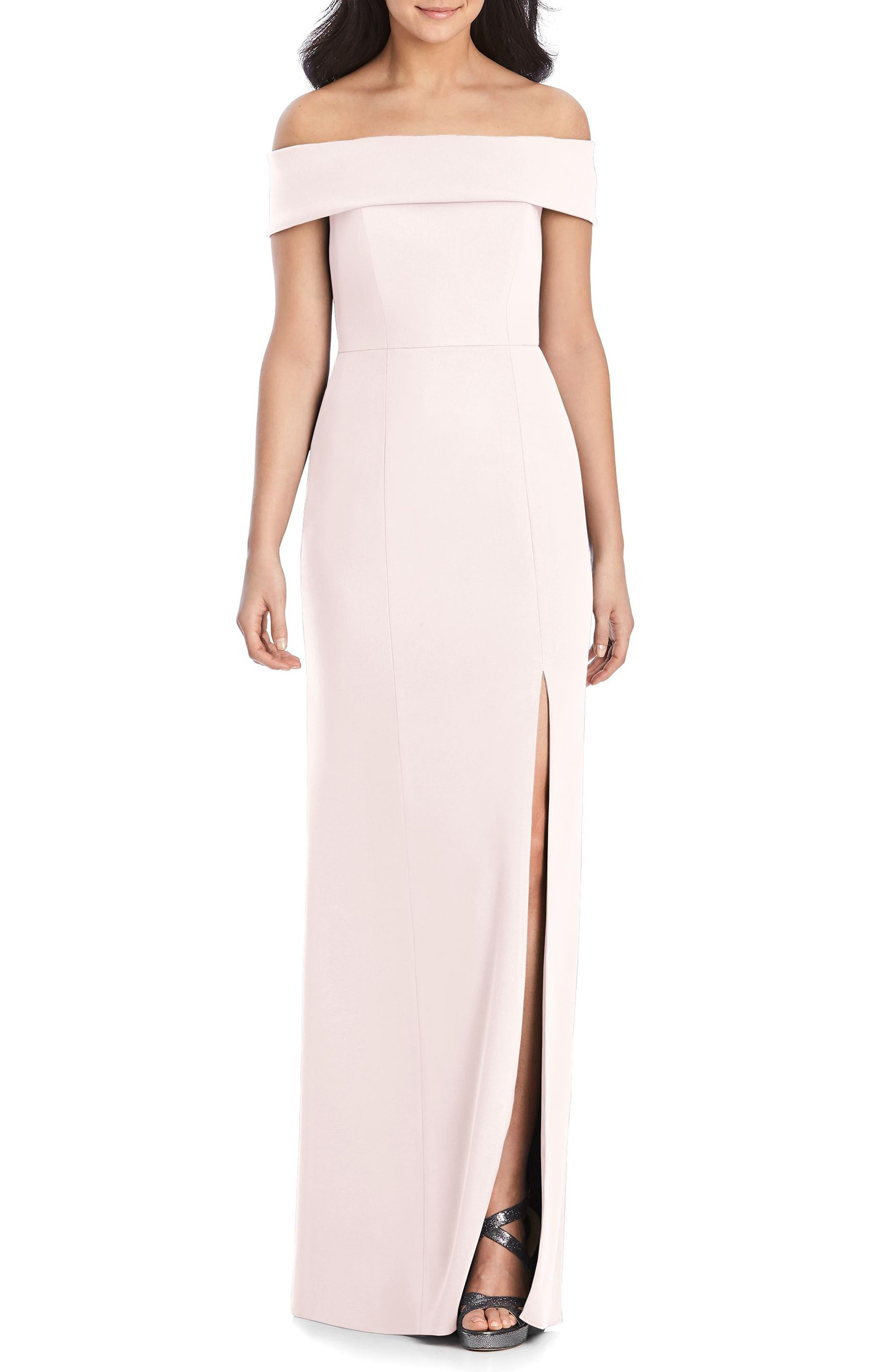 Dessy Collection Off The Shoulder Side Slit Crepe Gown, Pink
