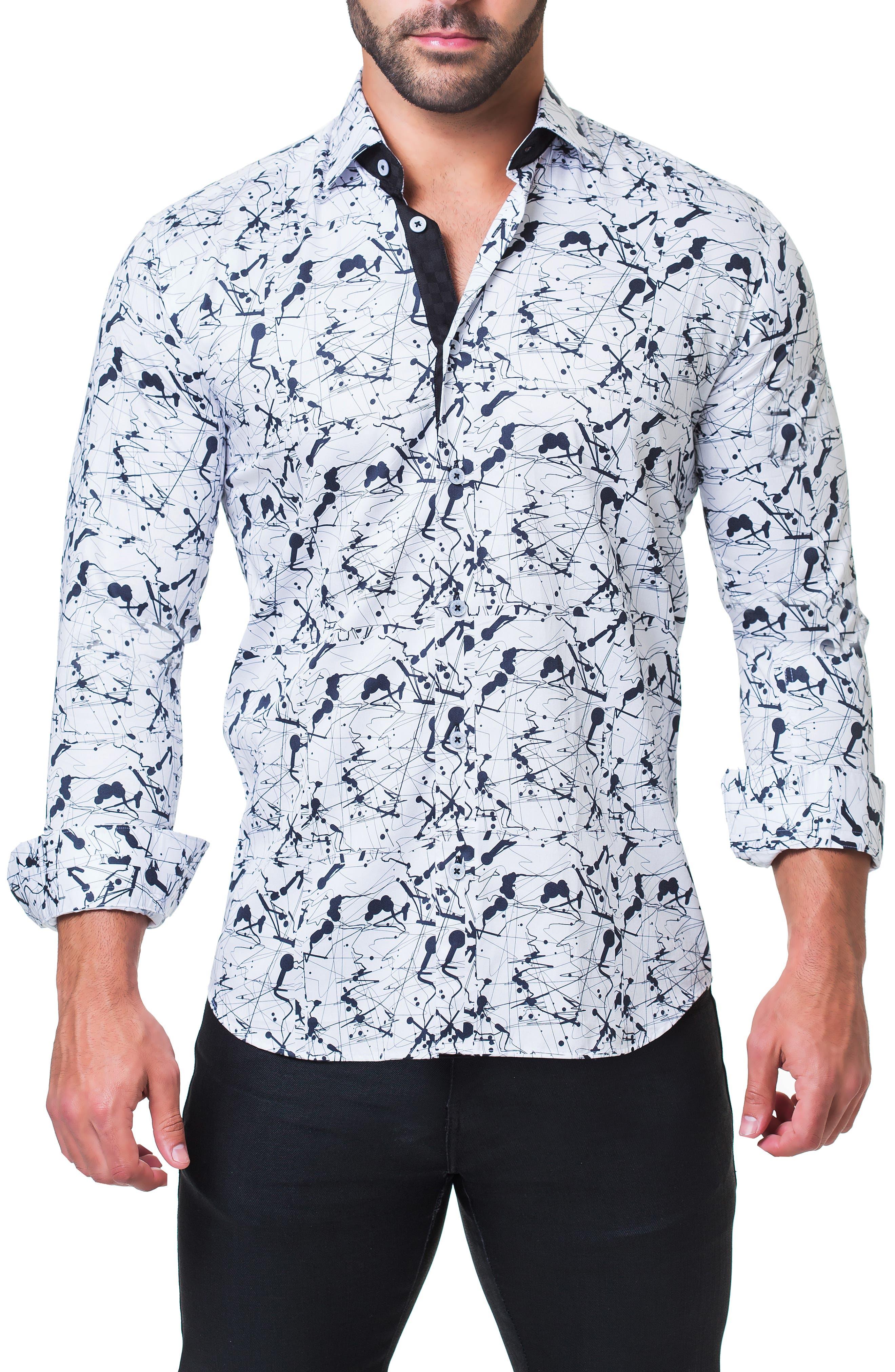 Fibonacci Haring Trim Fit Print Sport Shirt,                             Alternate thumbnail 4, color,                             WHITE