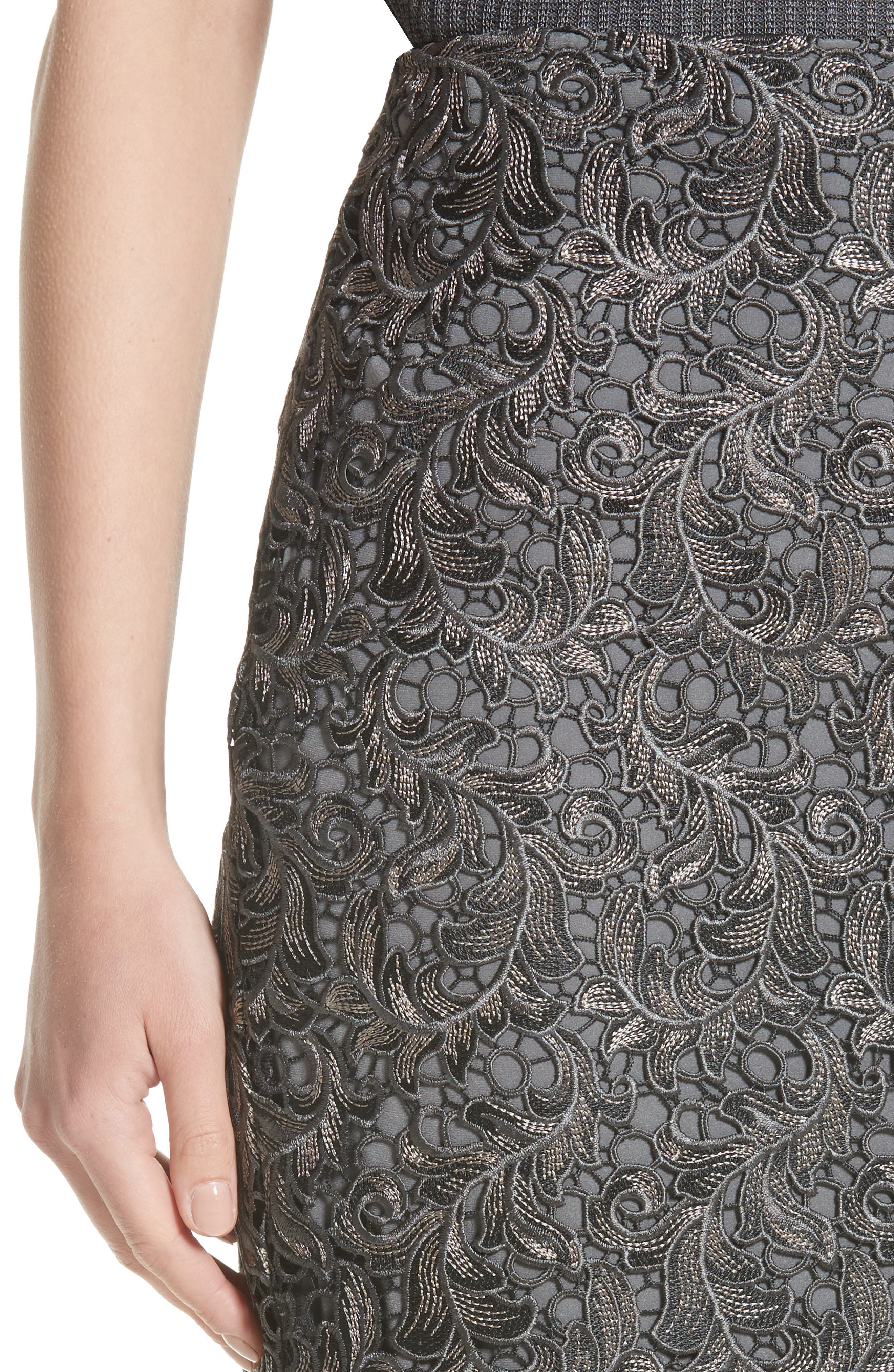 Plume Embroidered Lace Pencil Skirt,                             Alternate thumbnail 4, color,                             030