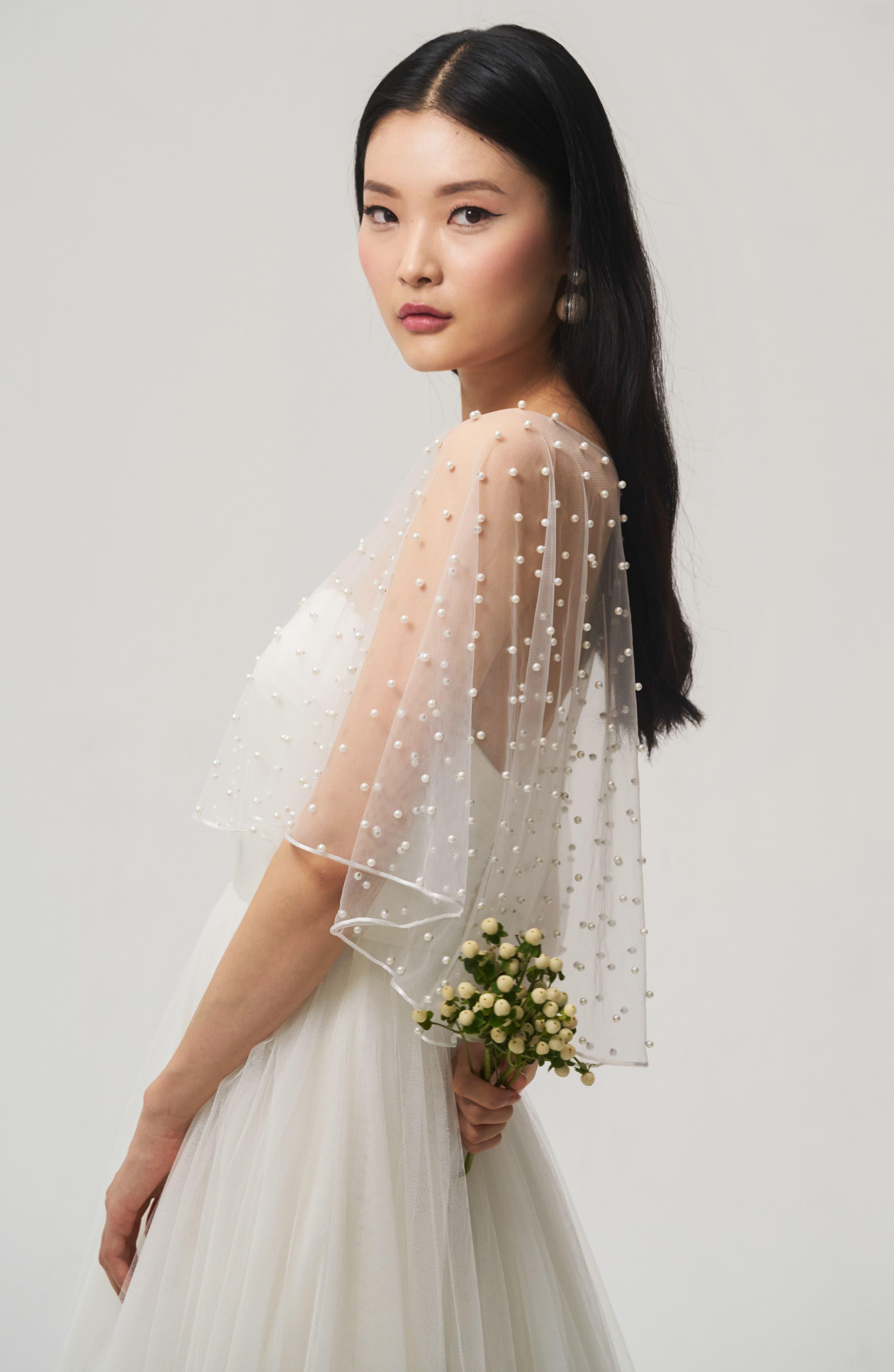 Jenny Yoo Fiona Imitation Pearl Tulle Top,                             Alternate thumbnail 3, color,                             IVORY
