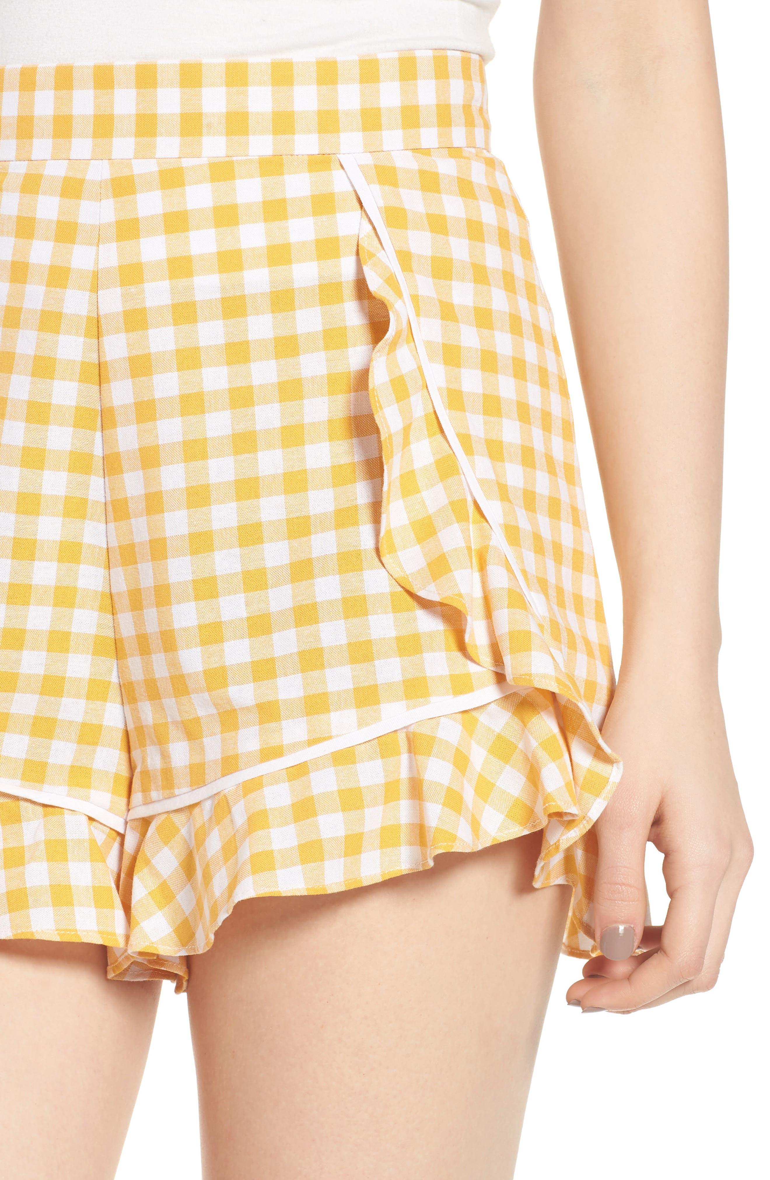 Idyllic Gingham Ruffle Shorts,                             Alternate thumbnail 4, color,                             702