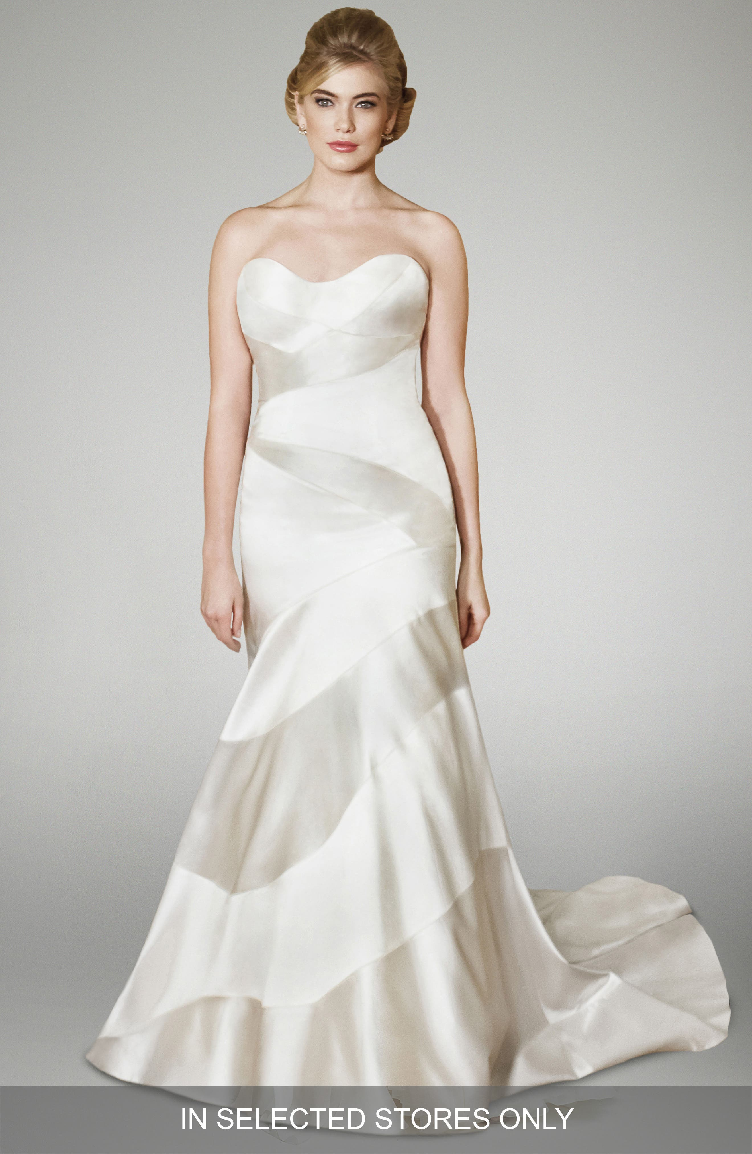 Blake Strapless Silk Trumpet Gown,                         Main,                         color, 101