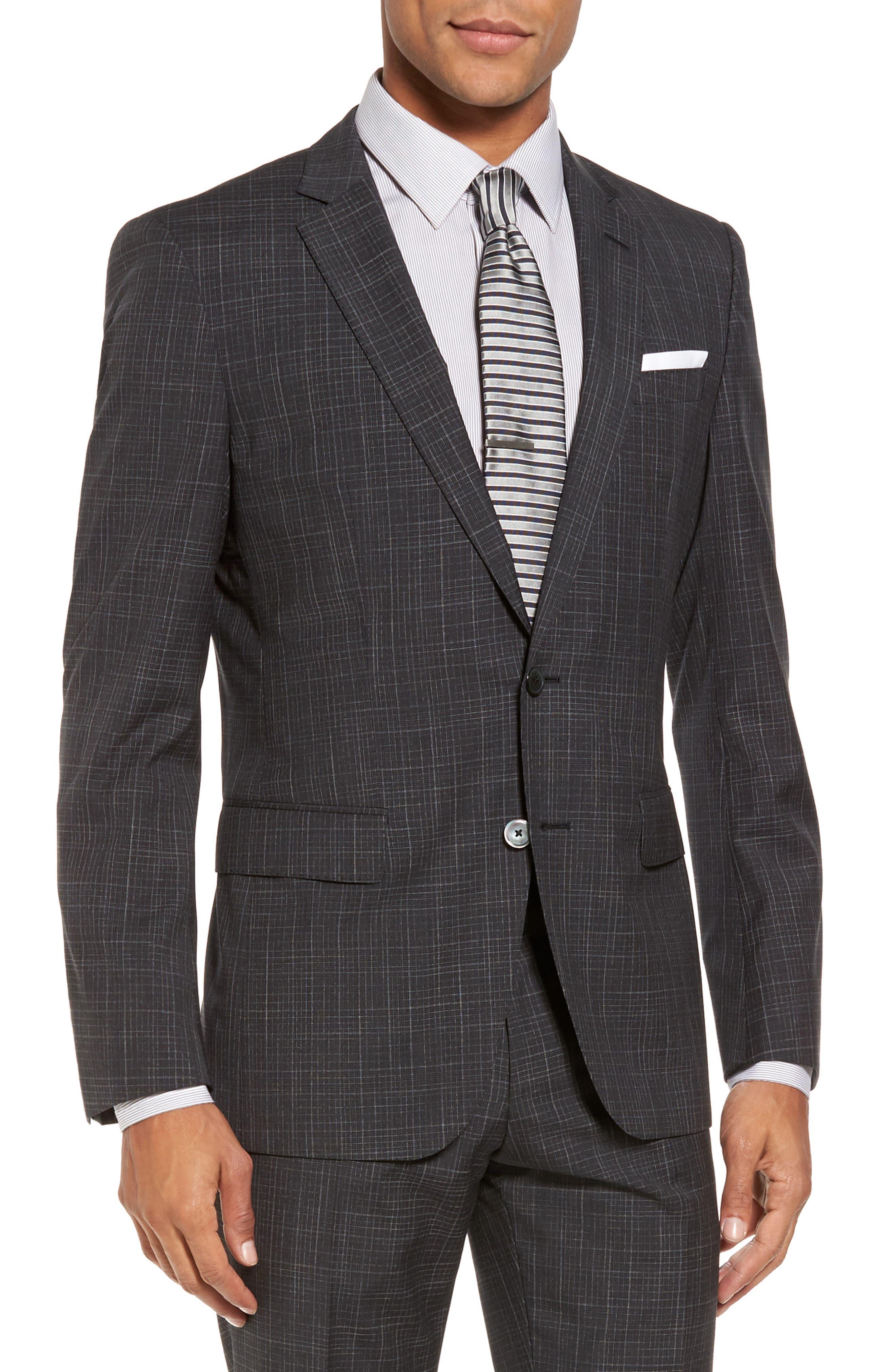 Hutson/Gander Trim Fit Plaid Wool Suit,                             Alternate thumbnail 5, color,                             061