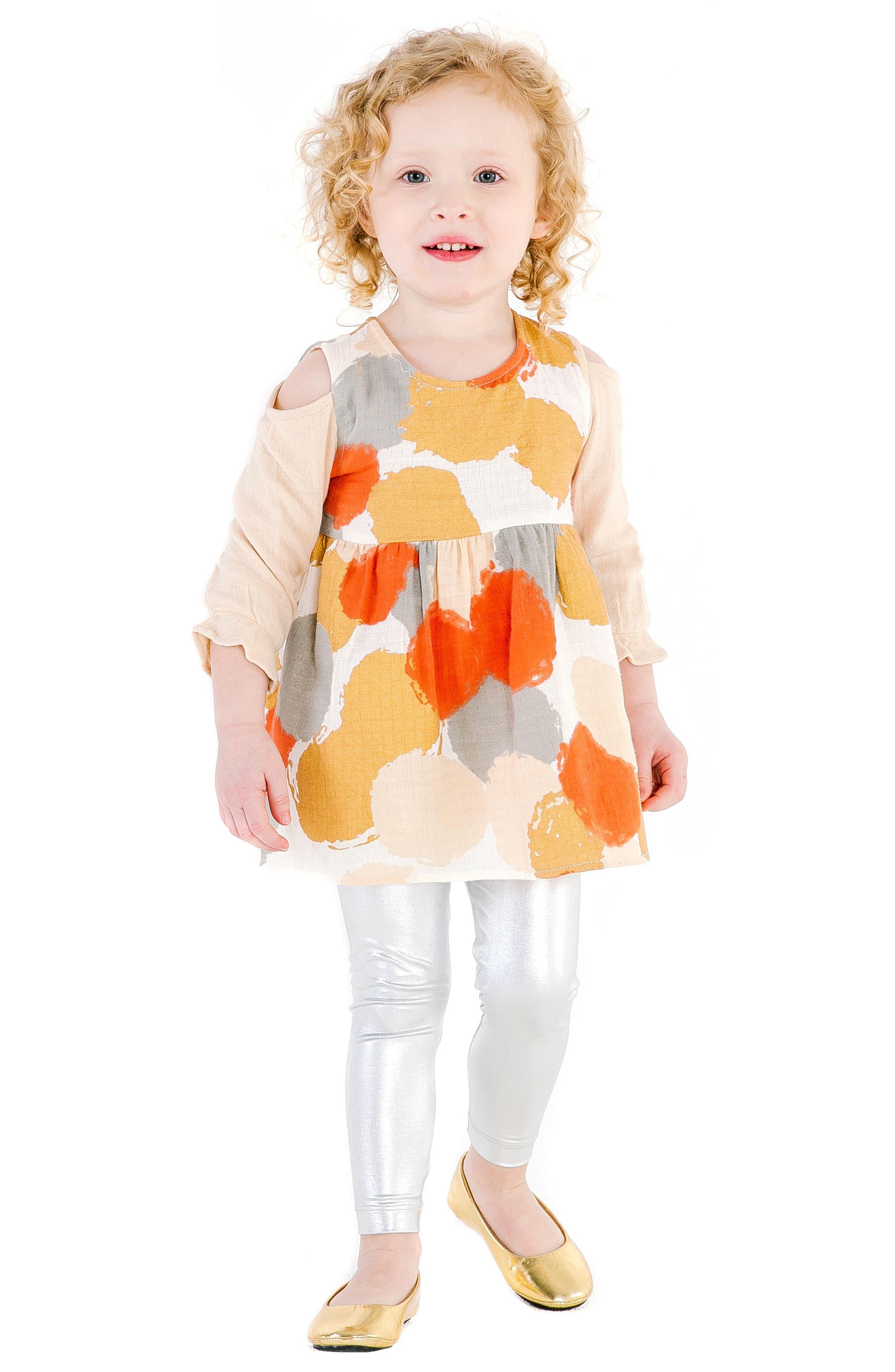 Layla Cold Shoulder Organic Cotton Dress,                             Alternate thumbnail 2, color,                             MULTI