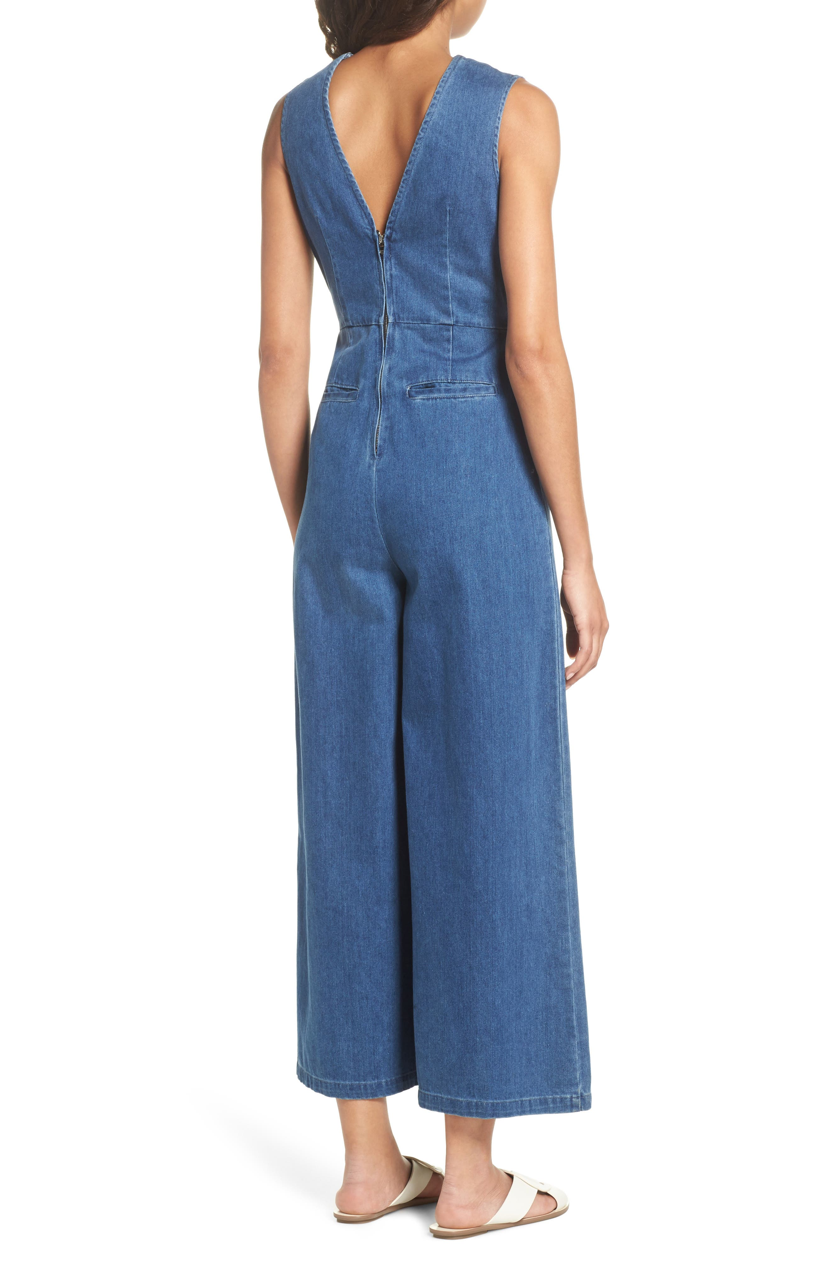 Hampton Denim Sleeveless Jumpsuit,                             Alternate thumbnail 2, color,                             400