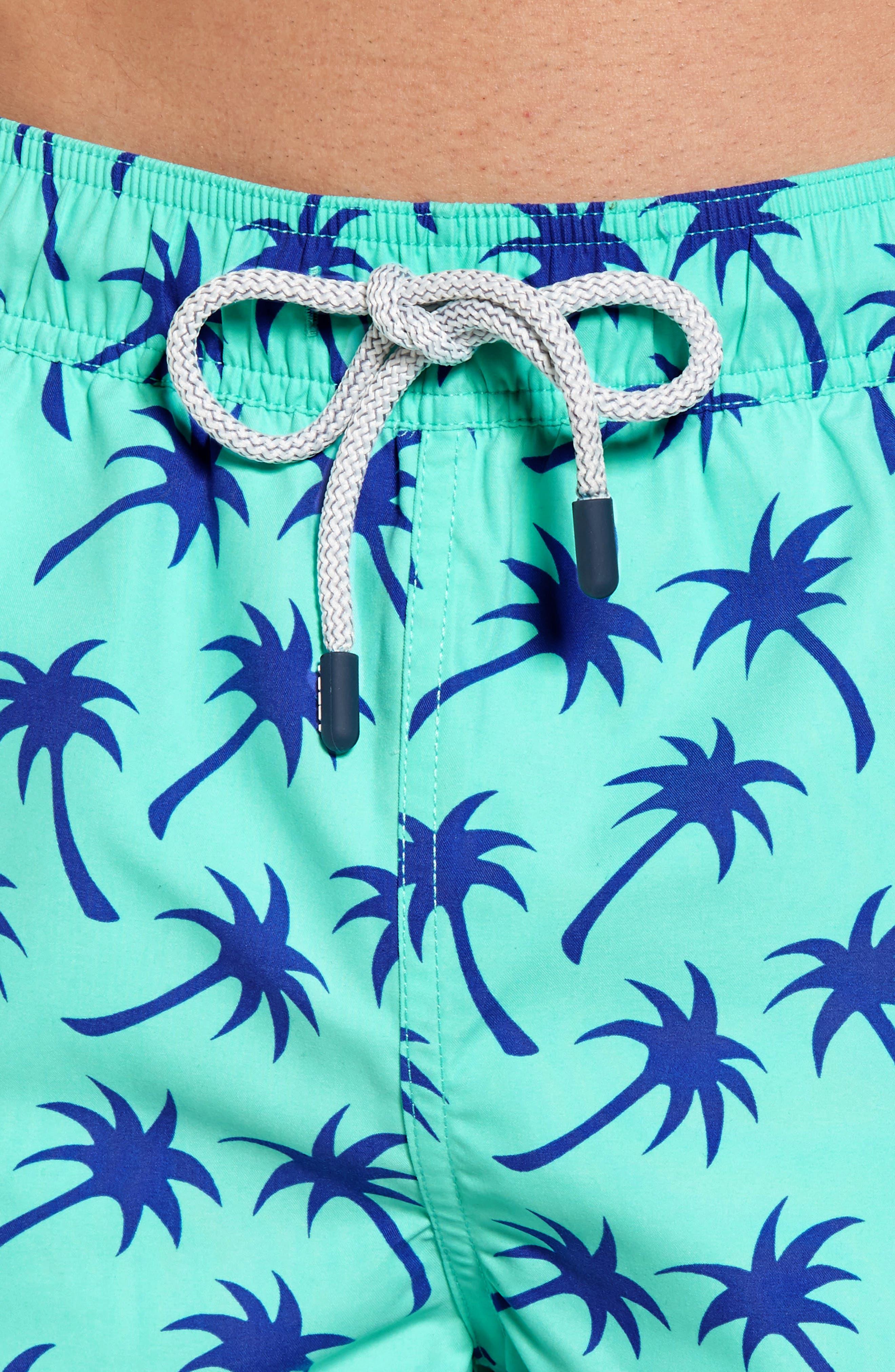 Palm Tree Print Swim Trunks,                             Alternate thumbnail 4, color,                             EMERALD/ BLUE