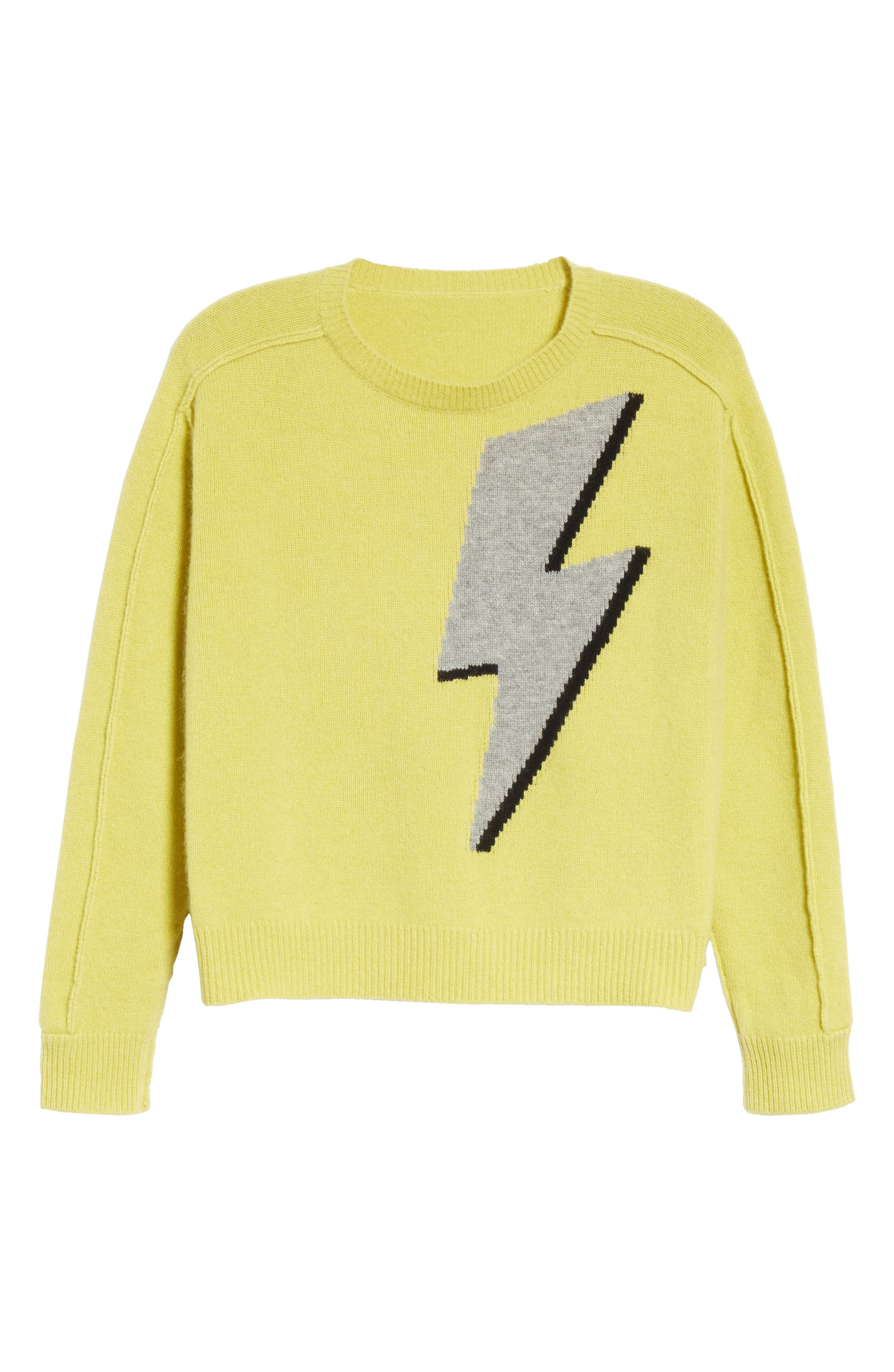 Lightning Bolt Wool & Cashmere Sweater,                             Alternate thumbnail 5, color,                             YELLOW/ GREY