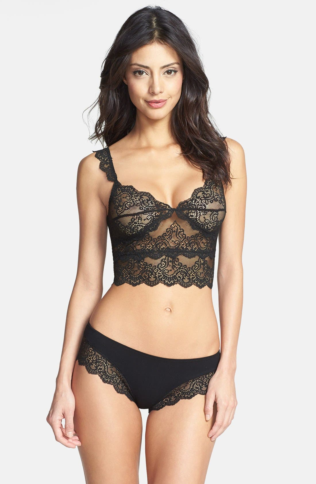 'So Fine' Cropped Lace Camisole,                             Alternate thumbnail 3, color,                             001