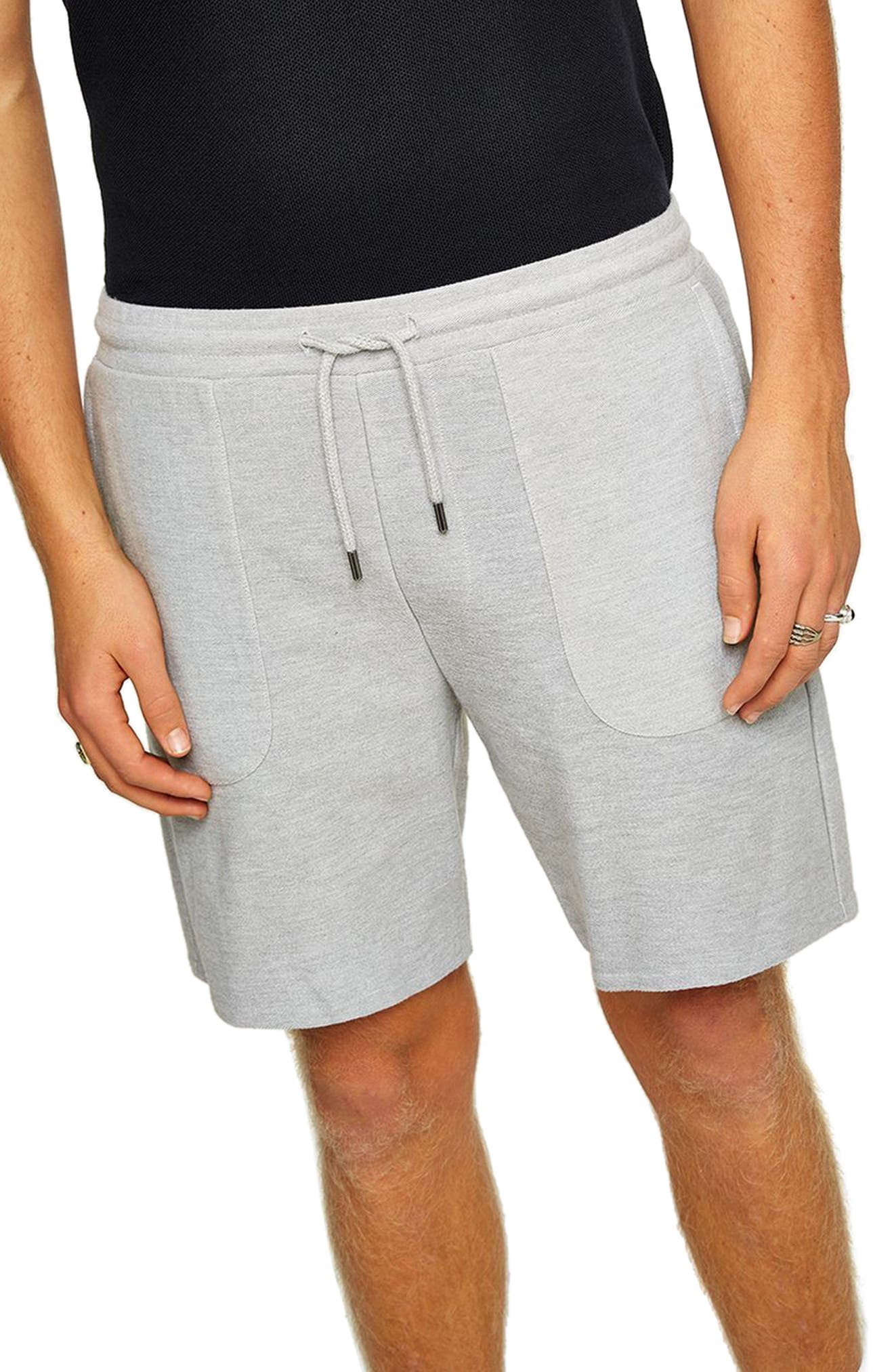 Slim Fit Twill Jersey Shorts,                             Alternate thumbnail 3, color,                             GREY