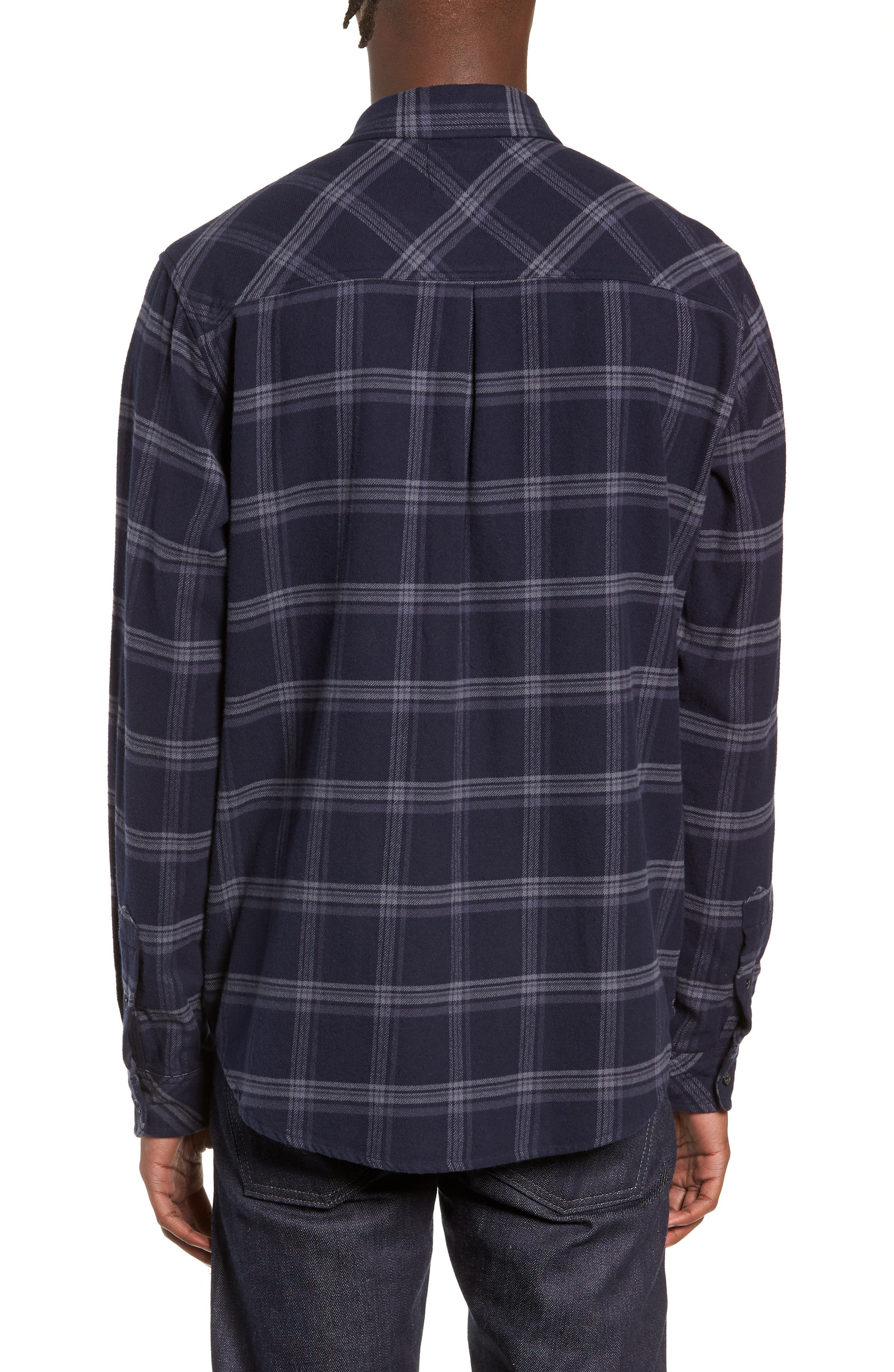 Forrest Slim Fit Plaid Flannel Sport Shirt,                             Alternate thumbnail 3, color,                             NAVY/HEATHERED CHARCOAL