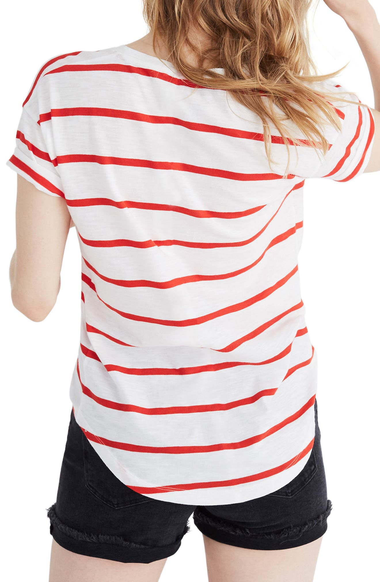 Whisper Cotton Crewneck Tee,                             Alternate thumbnail 2, color,                             BRIGHT IVORY/ RED
